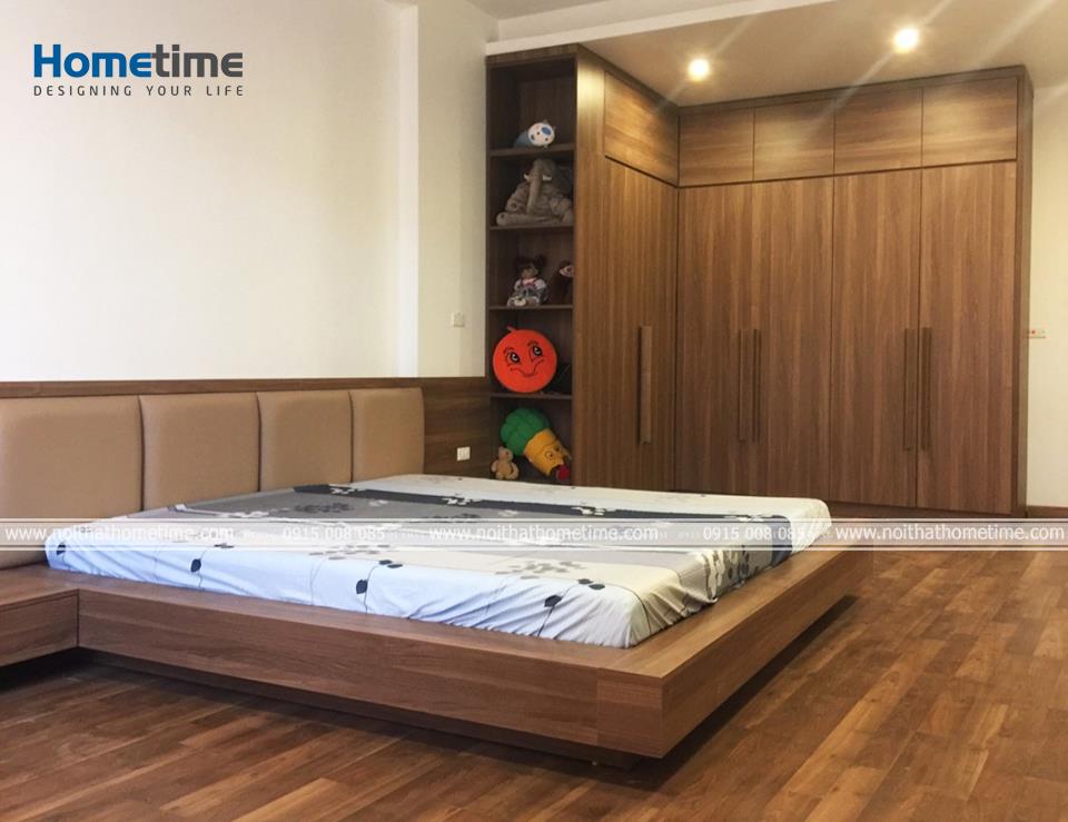 Giường ngủ và tủ quần áo gỗ MDF phủ laminate