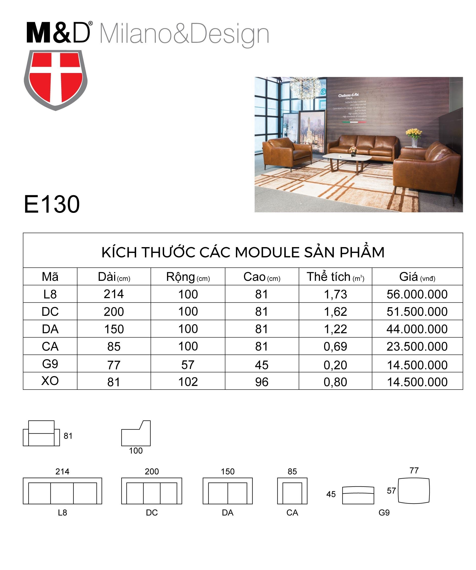 bảng kích thước bộ ghế sofa E130