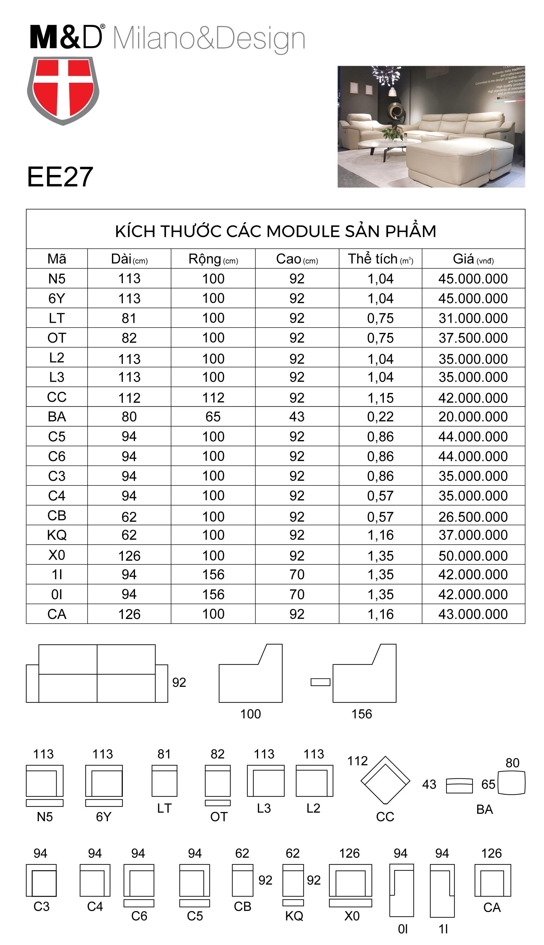 Bảng thông số kĩ thuật bộ sofa da EE27