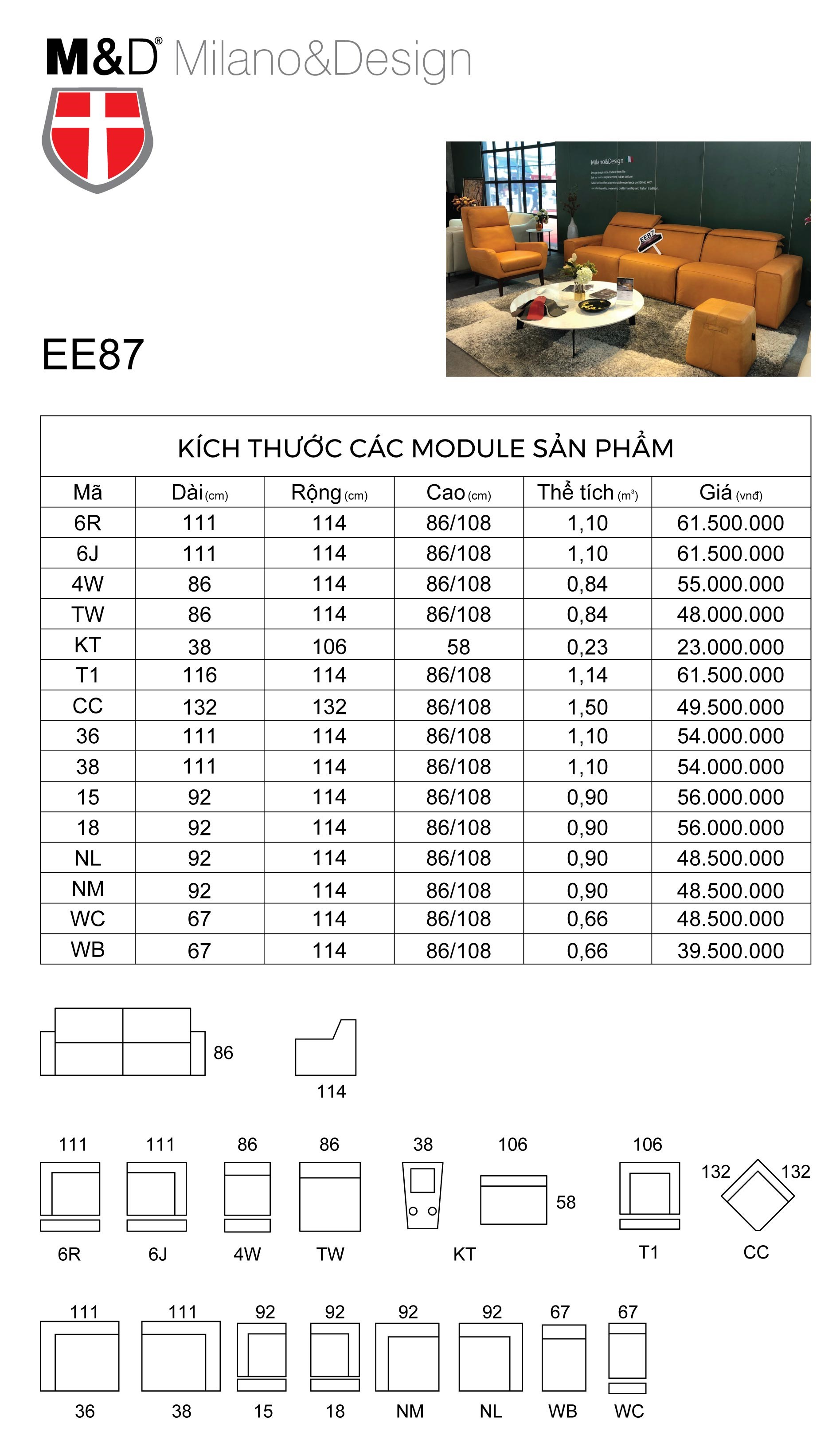 Bảng thông số kĩ thuật sofa da thật EE87