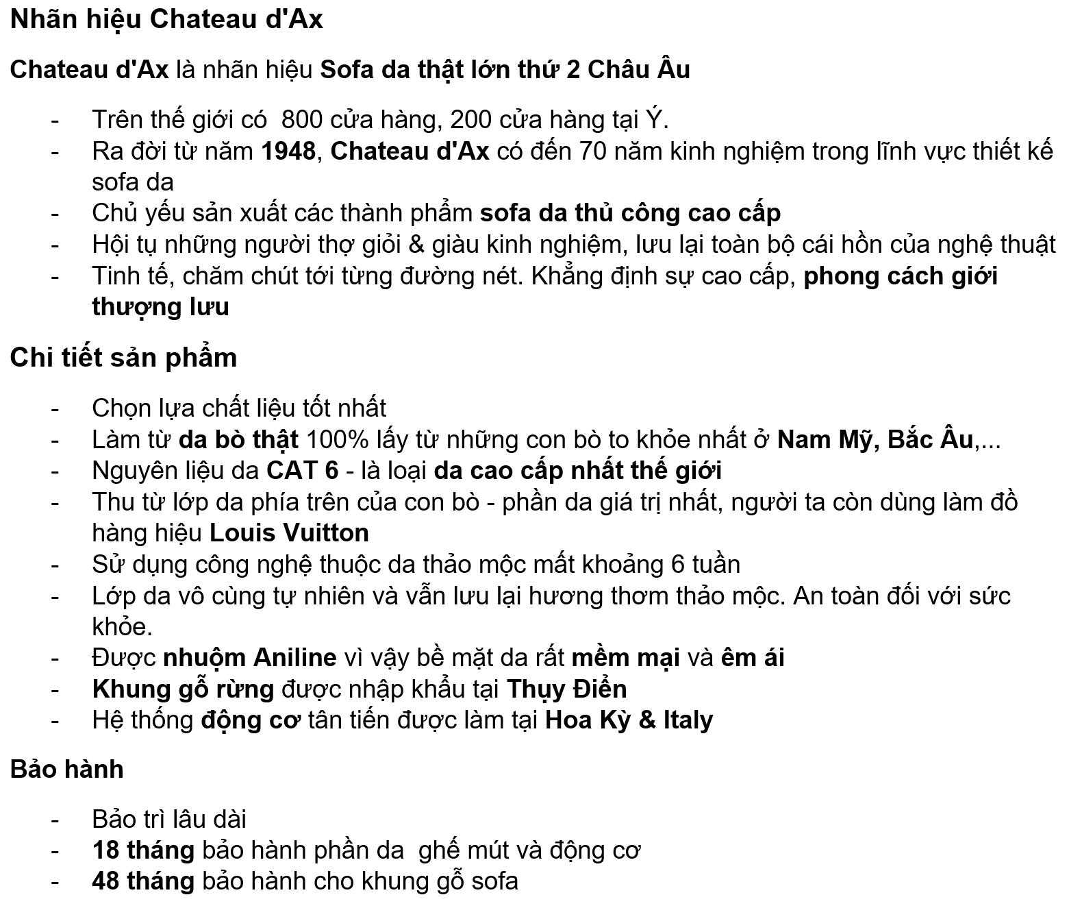 Thông tin sản phẩm của Sofa da thật Lady T văng 2
