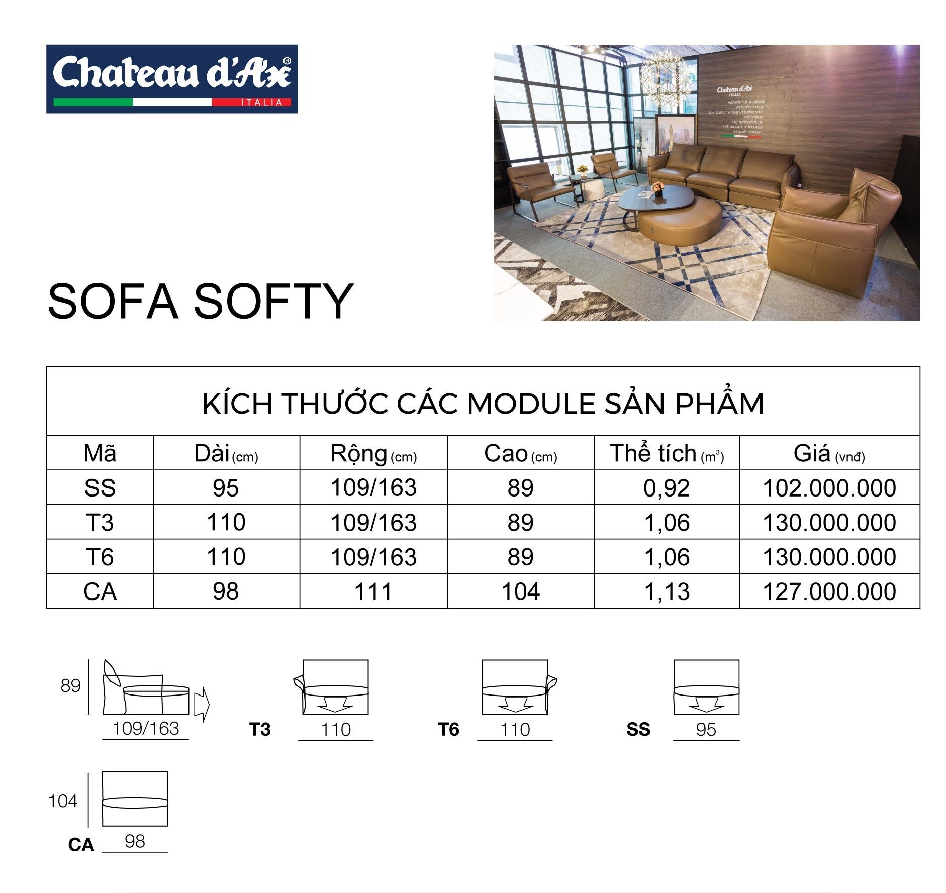 Bảng kích thước sofa softy văng đơn
