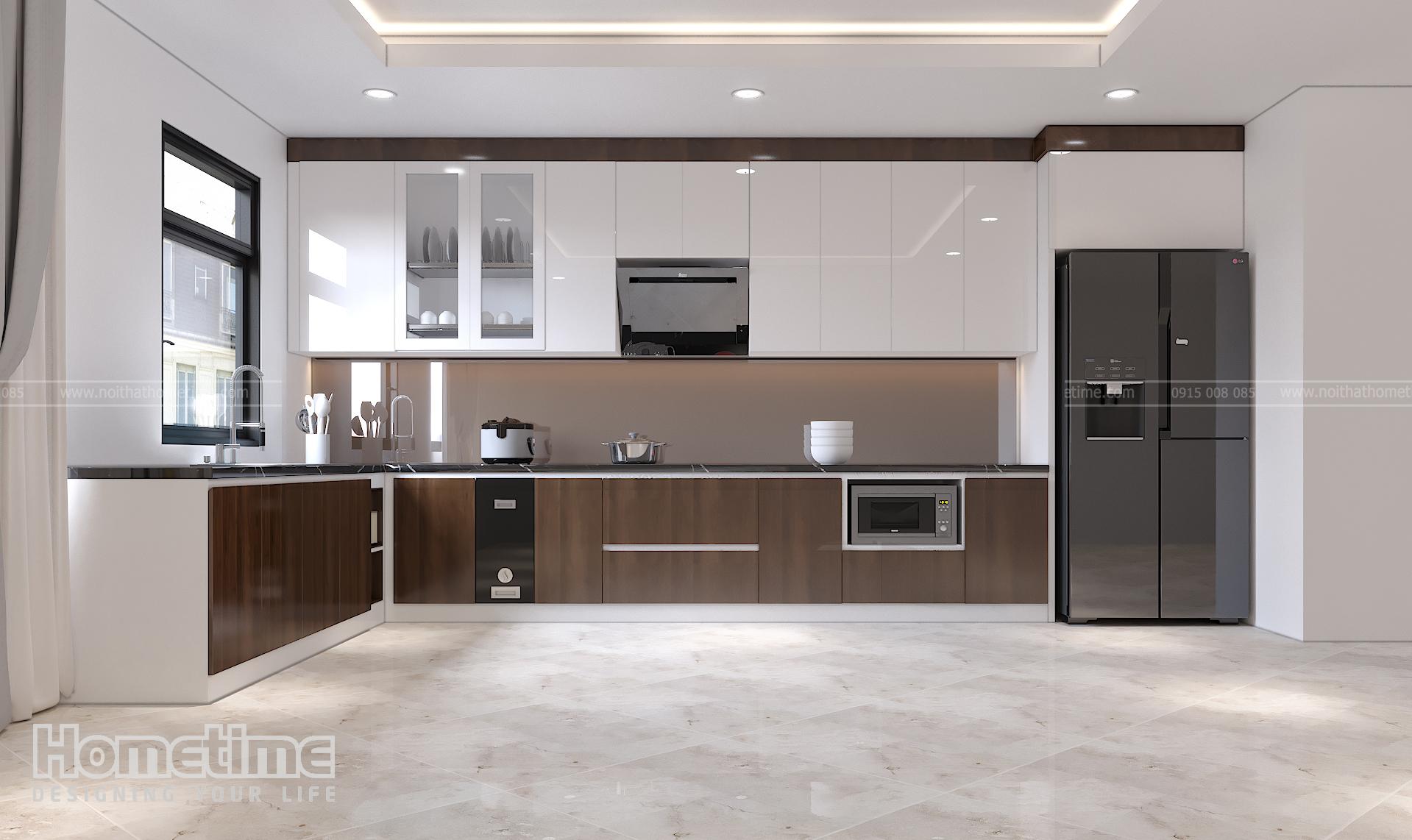 Tủ bếp phủ acrylic kết hợp phủ Laminate vân gỗ sang trọng