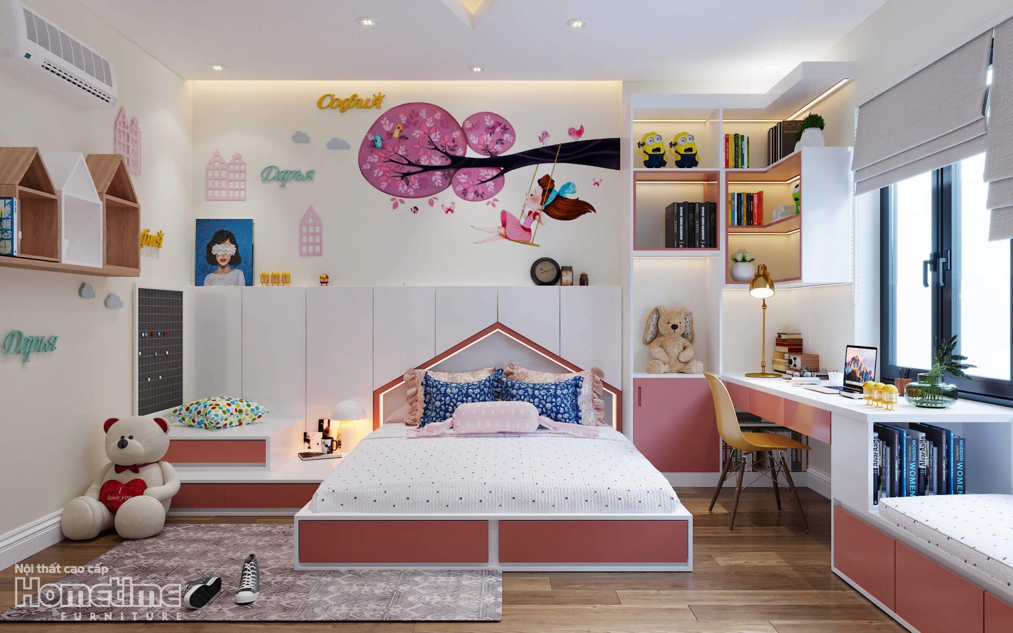 Thiết kế nội thất phòng ngủ bé gái hiện đại