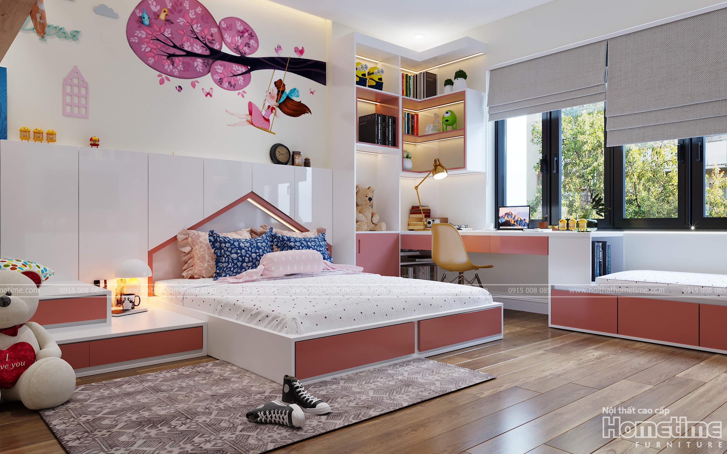 Phòng ngủ với những decor trang trí dễ thương cho bé gái