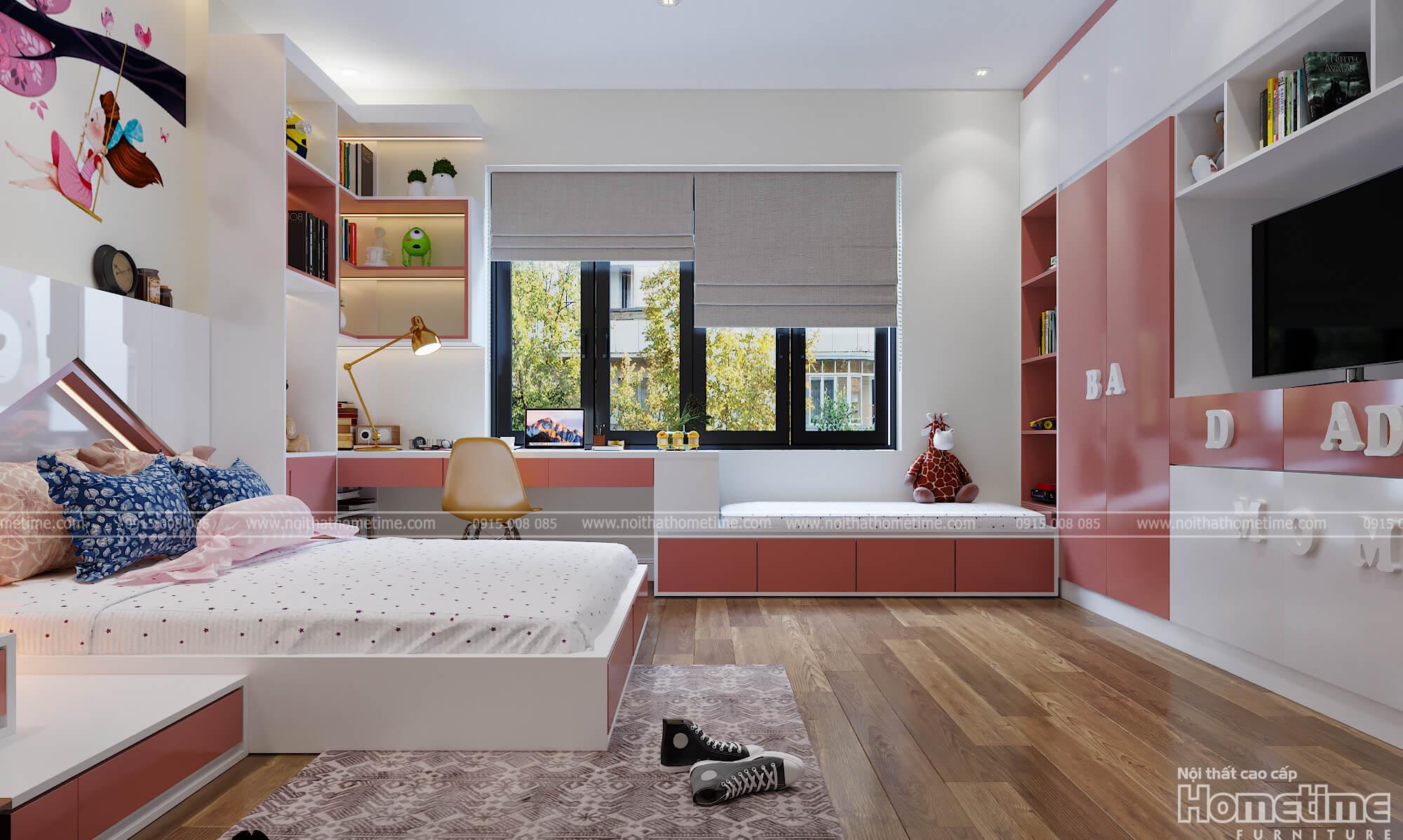 Cùng ngắm nhìn không gian phòng ngủ bé gái hướng ra ngoài