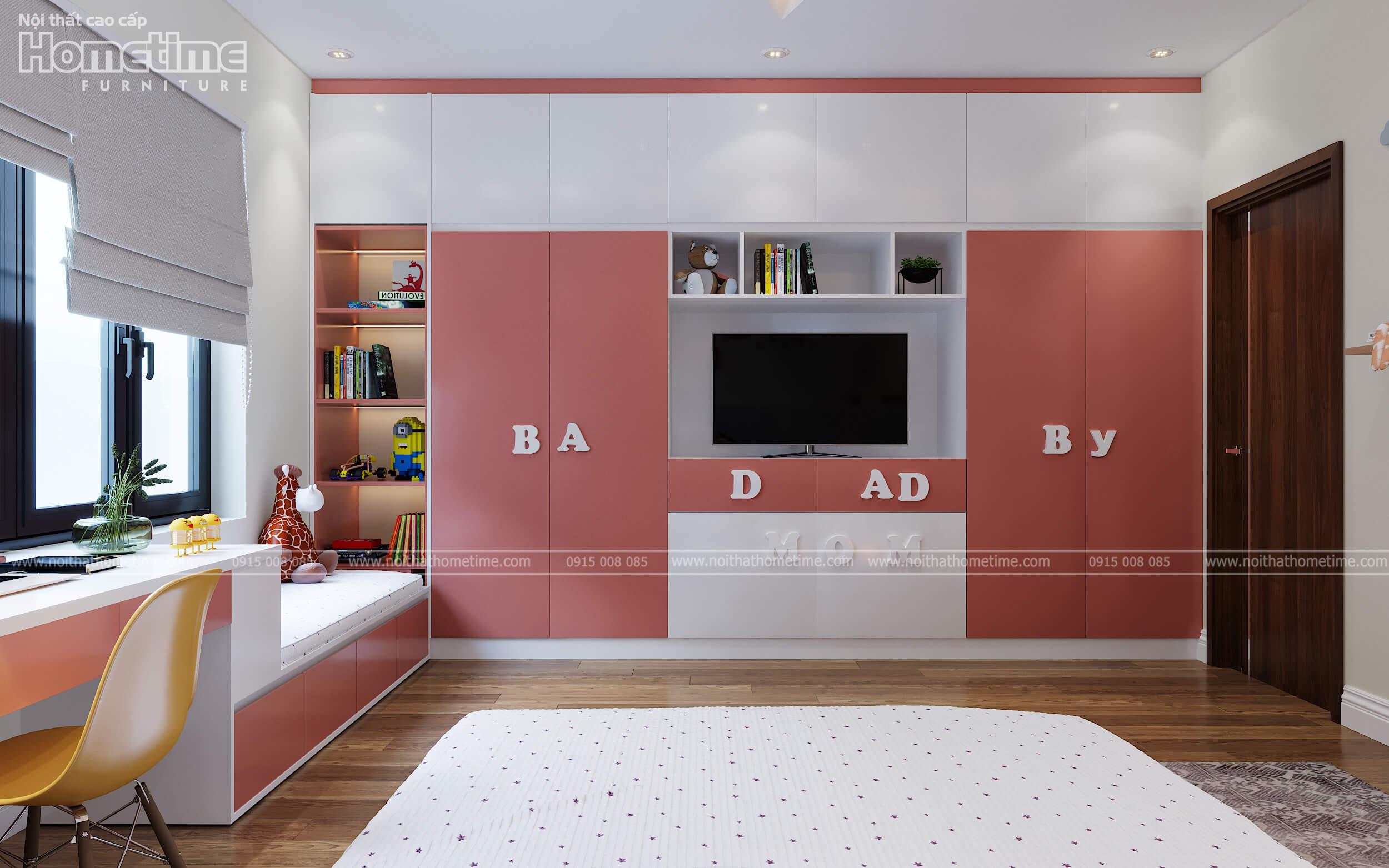 Hướng nhìn chính diện chiếc tủ quần áo và kệ trang trí