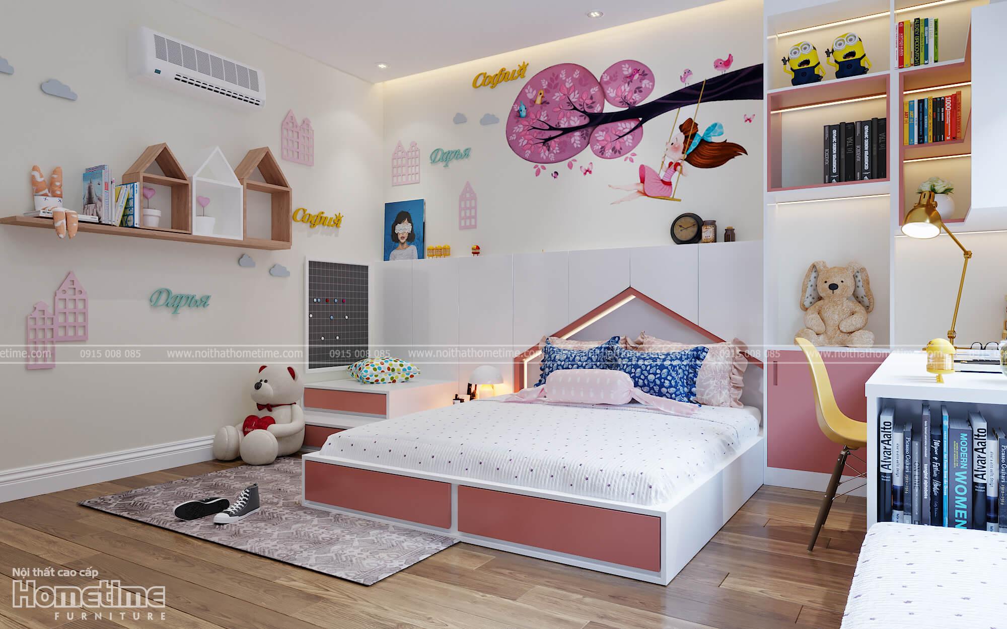 Cùng ngắm nhìn lại toàn bộ không gian phòng ngủ bé gái