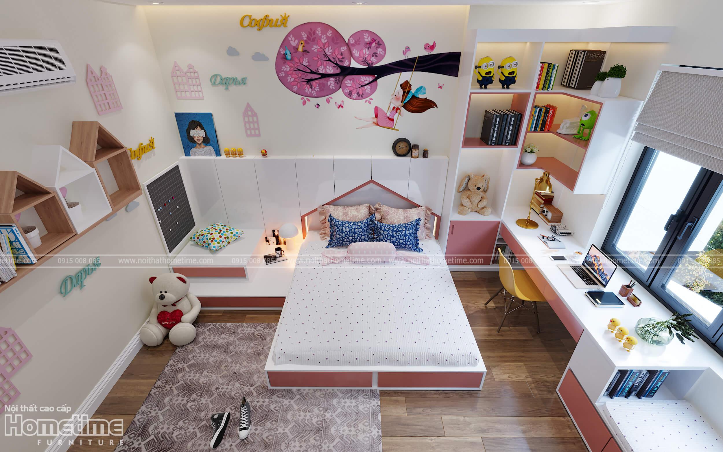 Trọn bộ nội thất phòng ngủ bé gái chỉ với 60 triệu đồng