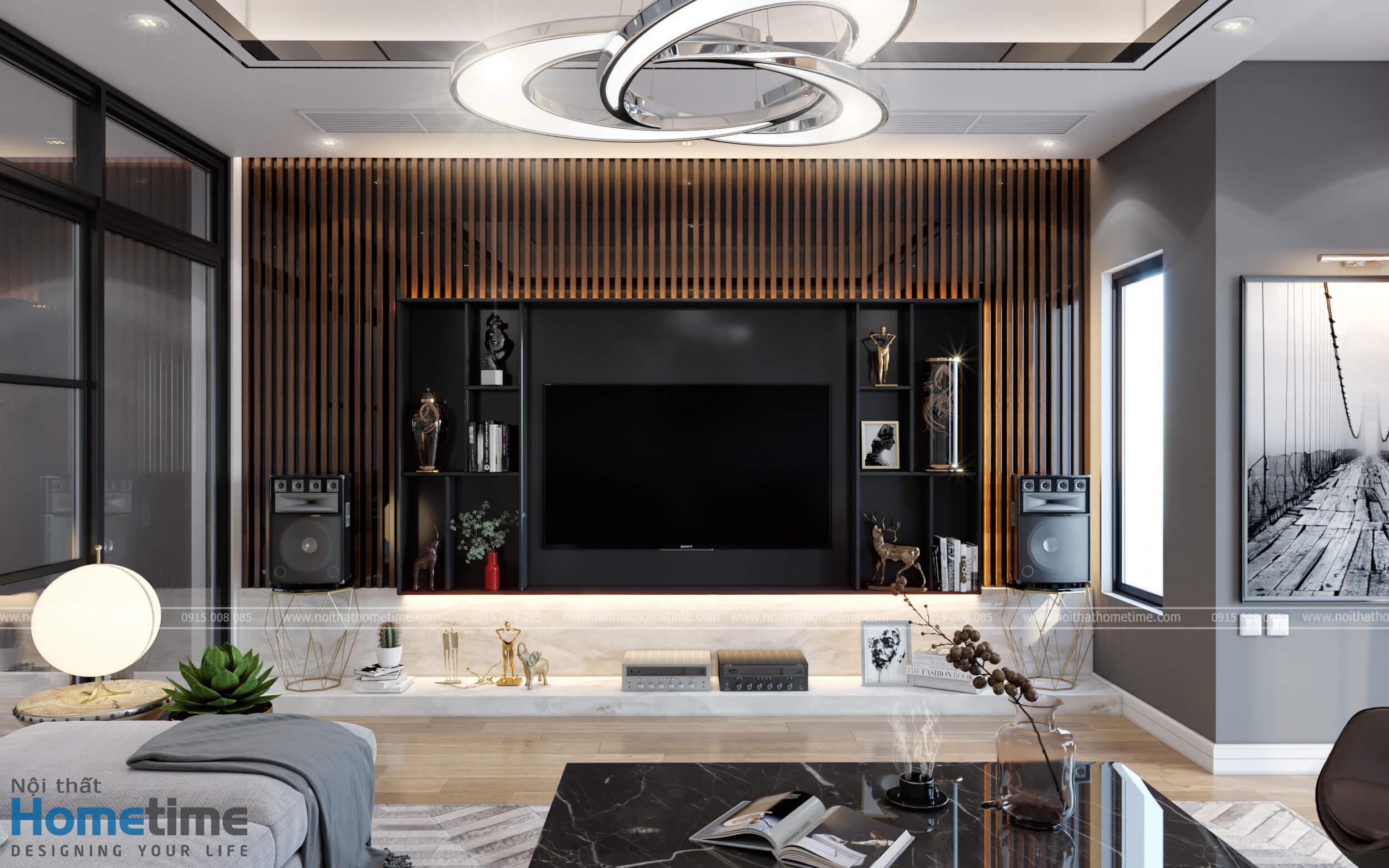 Điểm nhấn của nội thất phòng khách với hệ thống vách trang trí