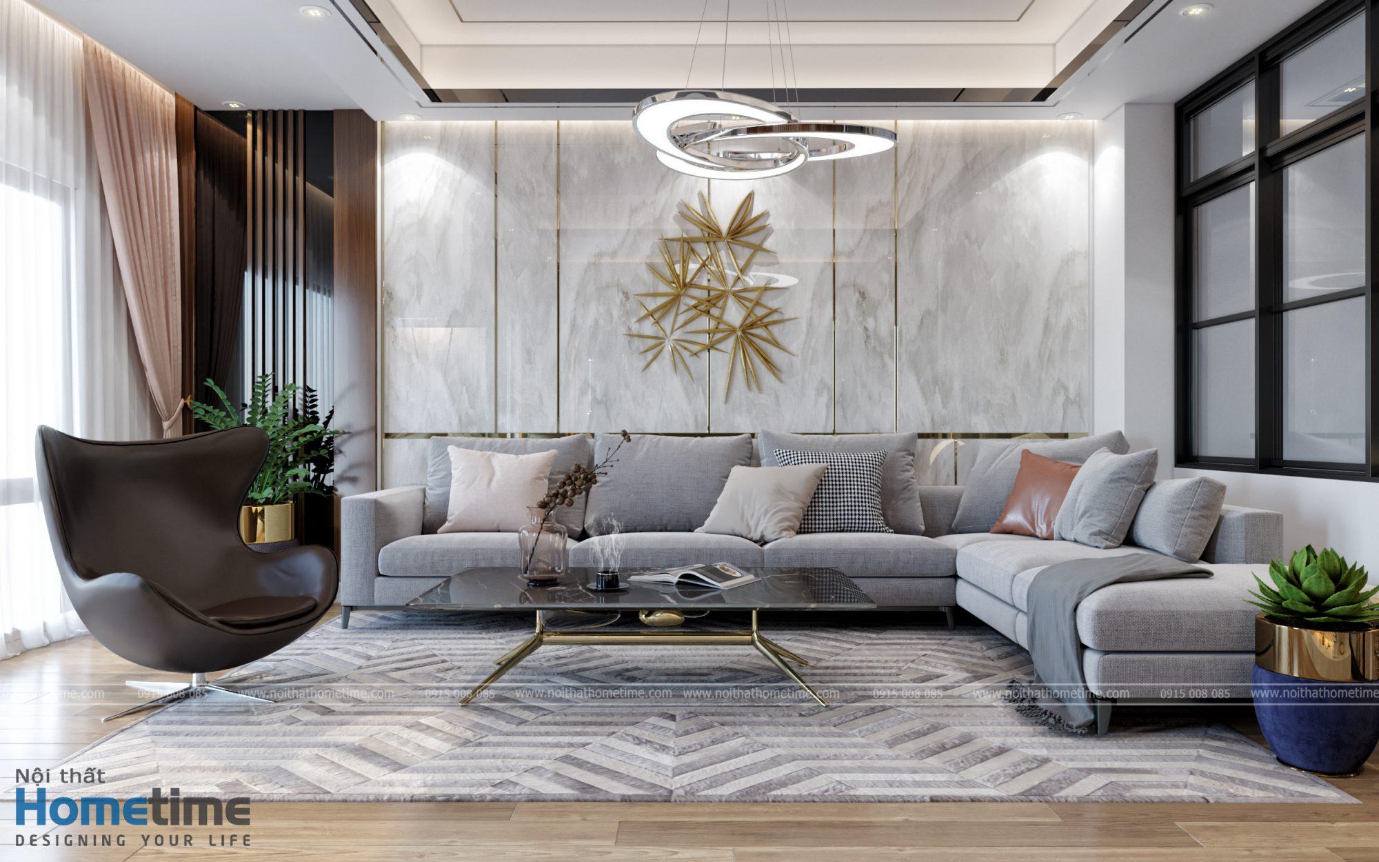 thiết kế nội thất phòng khách nhà anh Thanh