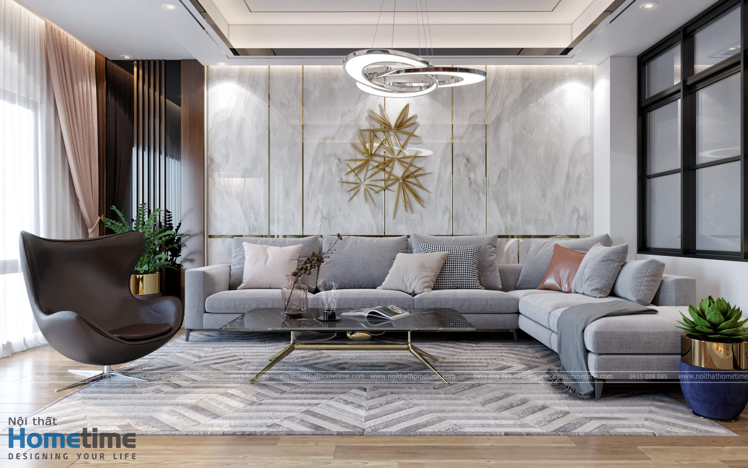 Bộ sofa nỉ cao cấp với tổng màu ghi sáng