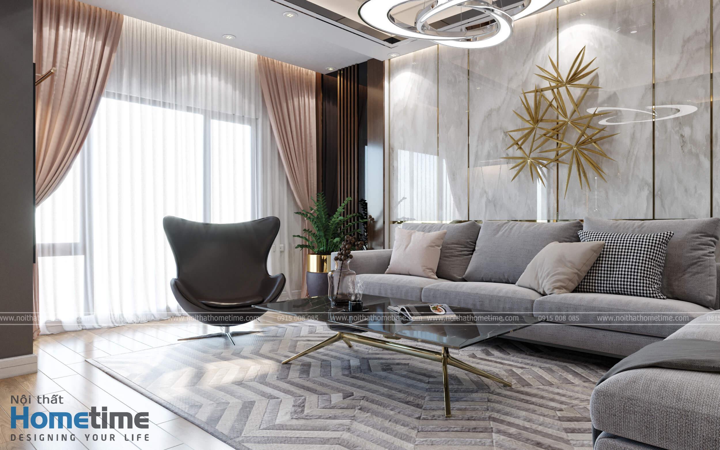 Lựa chọn đồ nội thất cao cấp cùng với hệ thống cửa kính cường lực để hứng ánh sáng tự nhiên