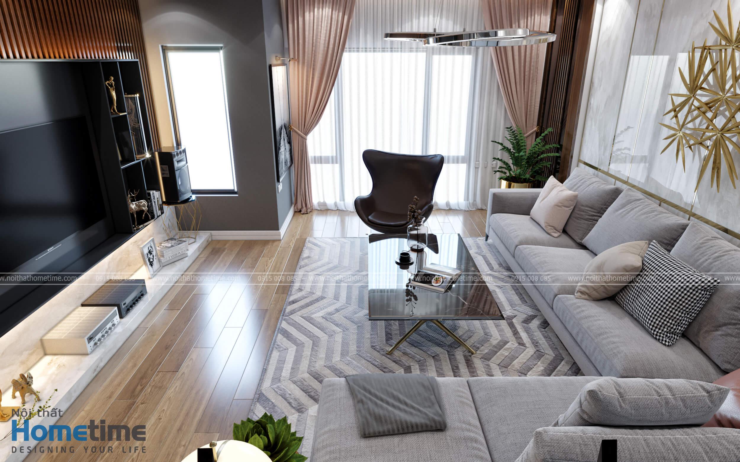 Tổng quan không gian nội thất phòng khách hiện đại sang trọng