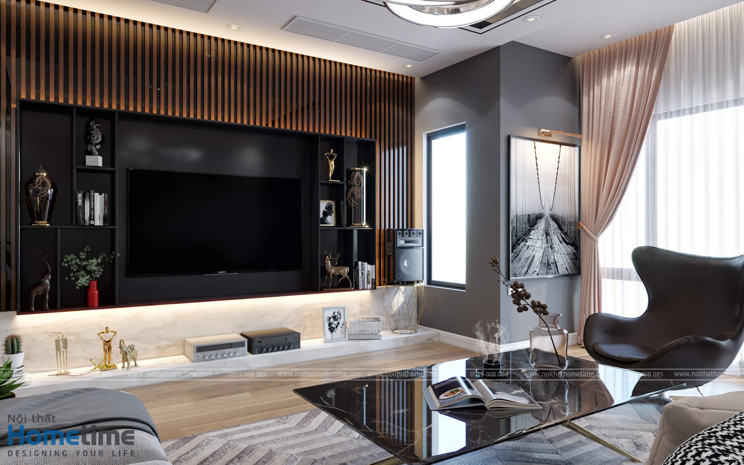 Một góc cảnh khác ta thấy được sự sang trọng của không gian nội thất phòng khách
