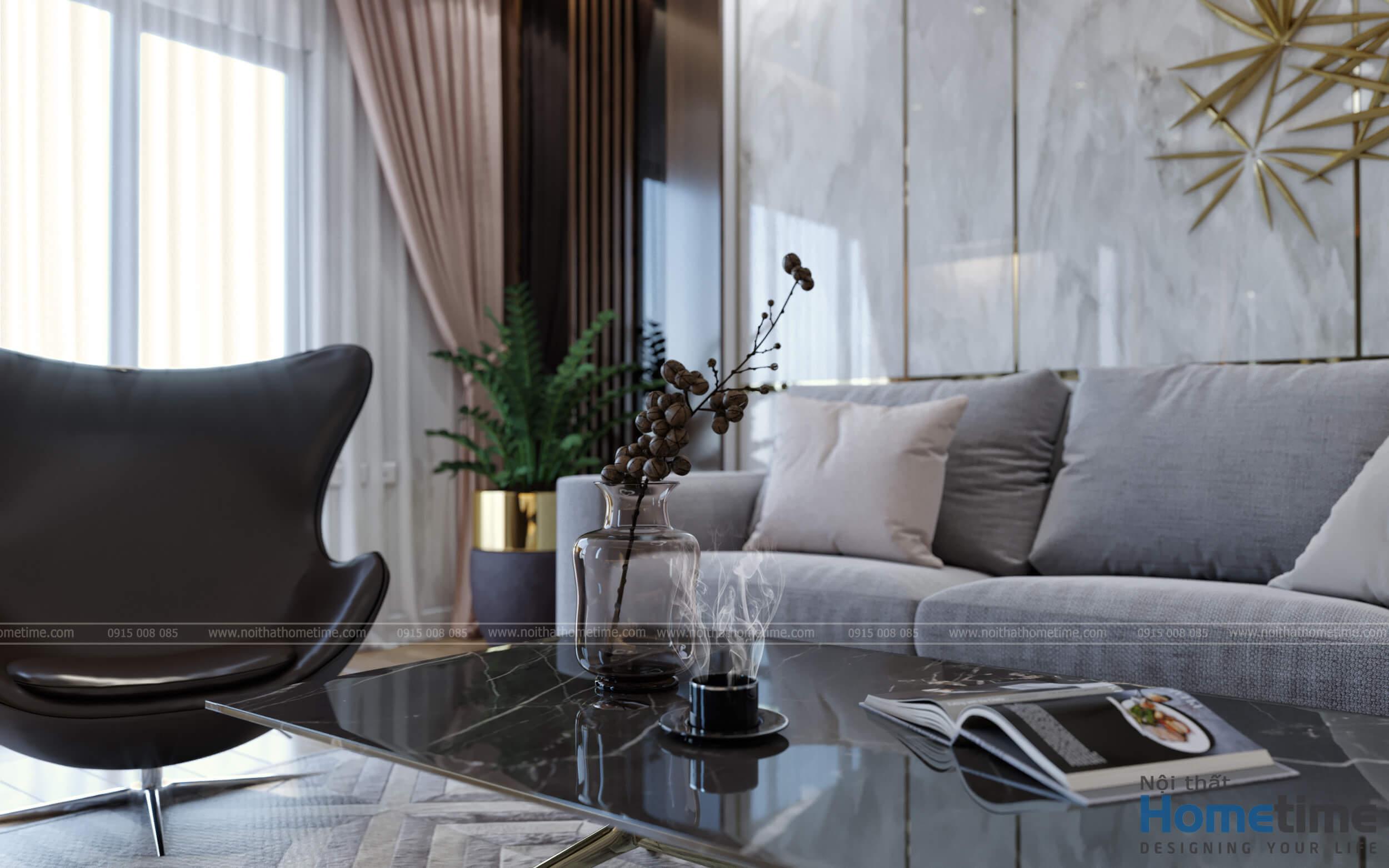 Nổi trội với chiếc ghế thư giãn và bộ bàn trà mặt đá cao cấp