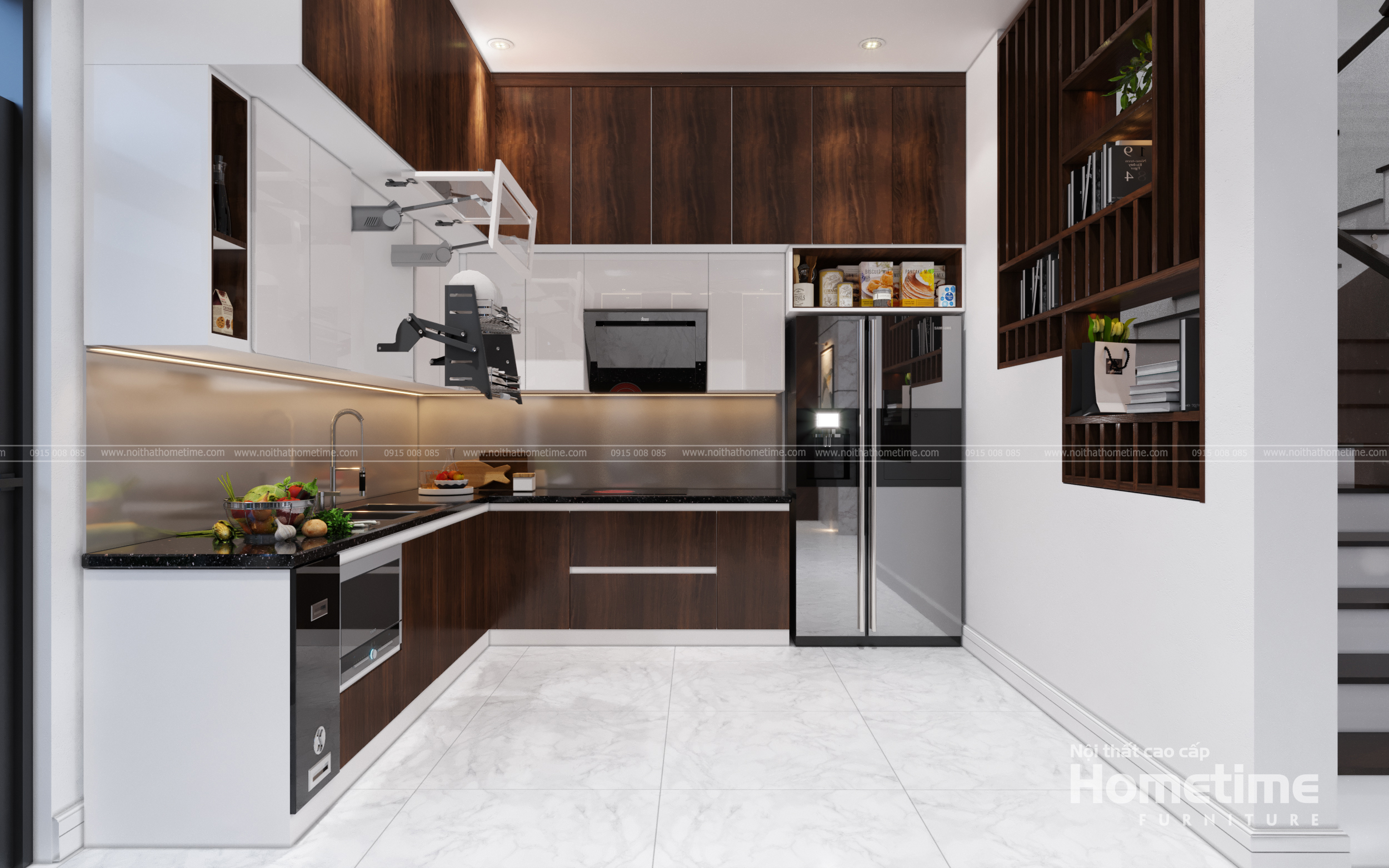 Tủ bếp hiện đại với Laminate vân gỗ