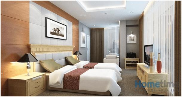 Không gian phòng ngủ khách sạn mini đẹp đầy đủ tiện nghi