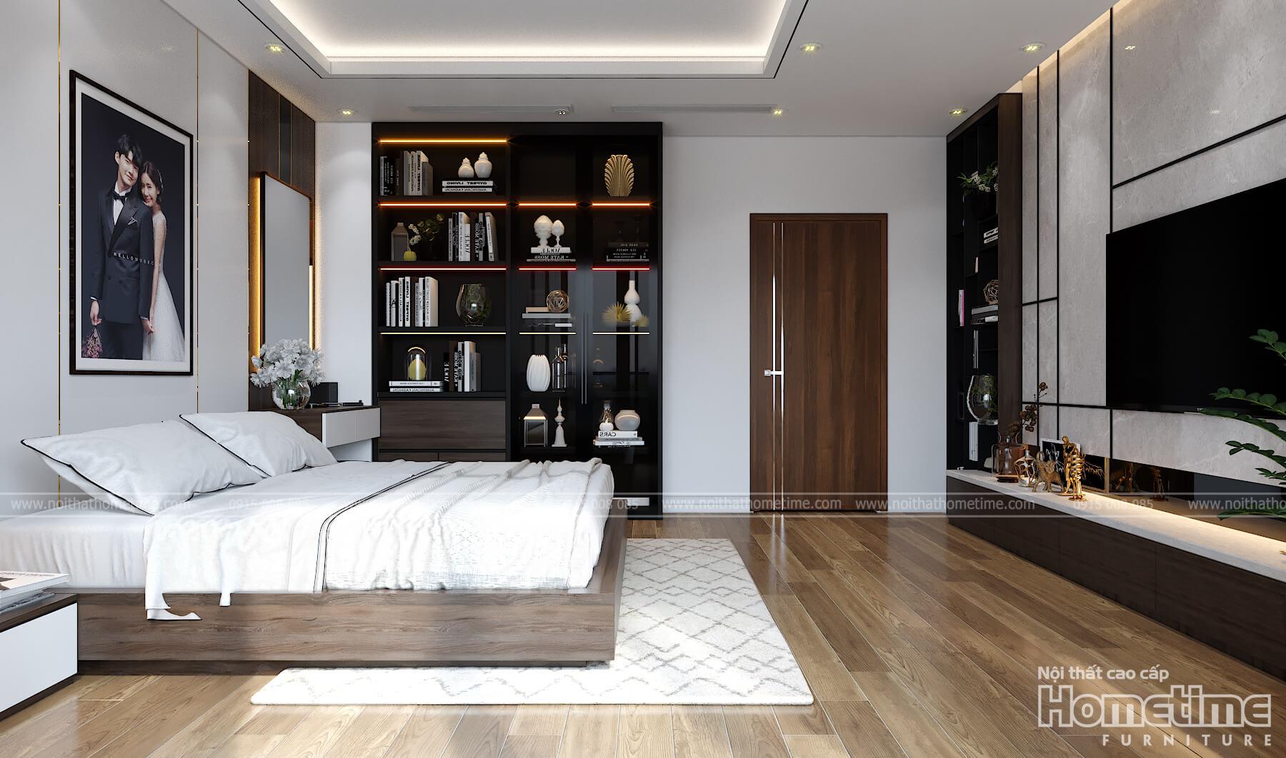 Không gian nội thât phòng ngủ được đầy đủ hơn với chiếc kệ trang trí