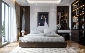 thiết kế nội thất phòng ngủ hiện đại tại biệt thự VInhomes