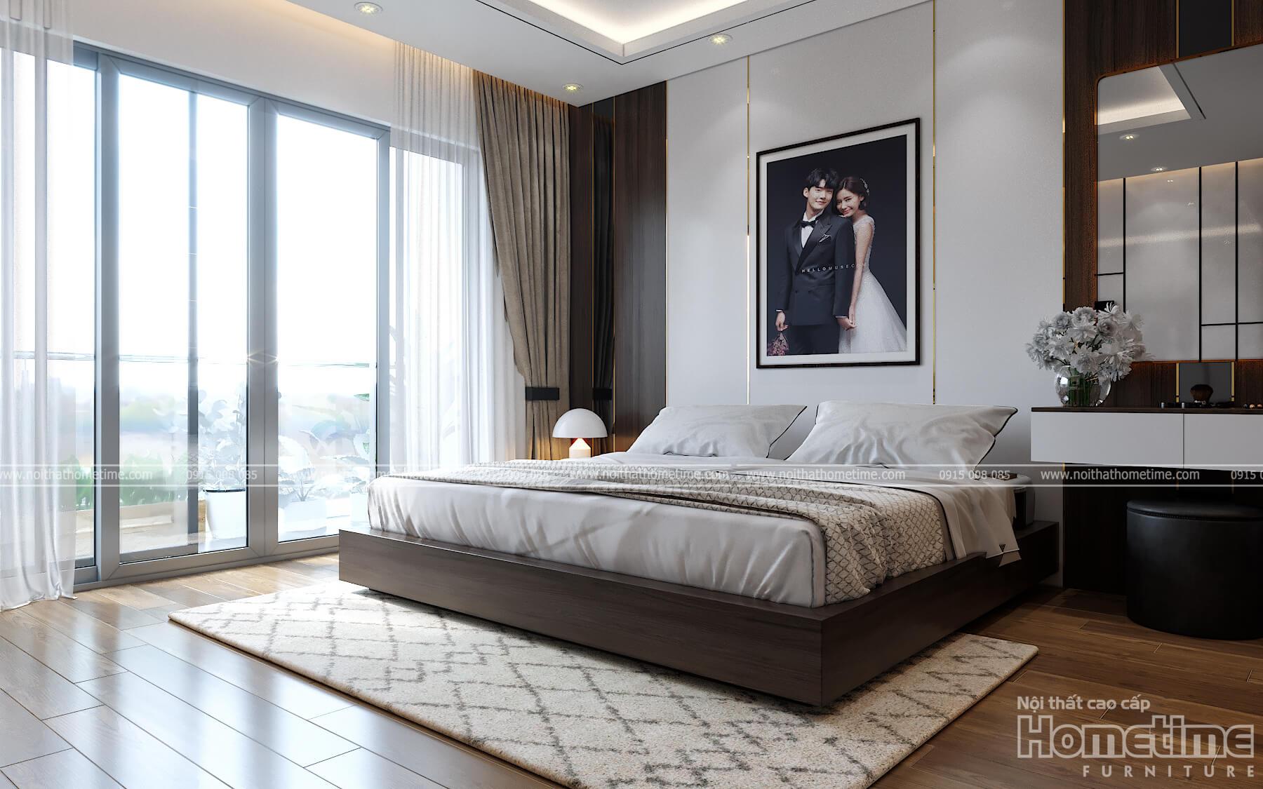 Một góc cảnh khách về toàn bộ chiếc giường ngủ cao cấp