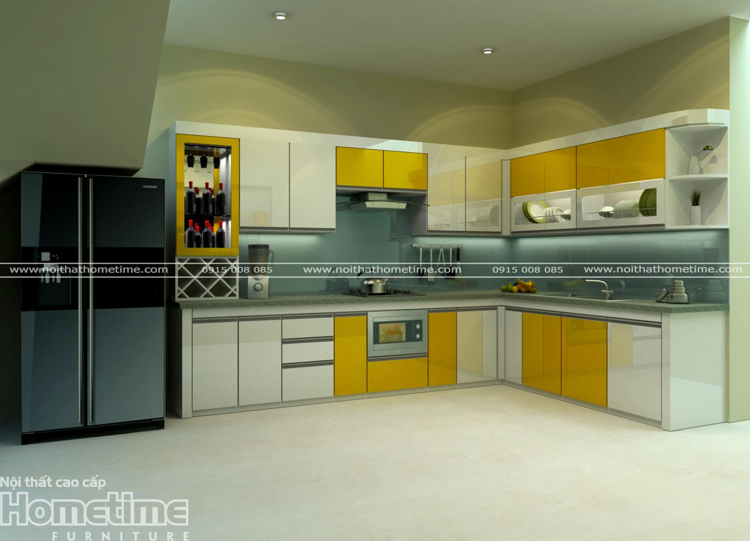 tủ bếp thái bình màu vàng