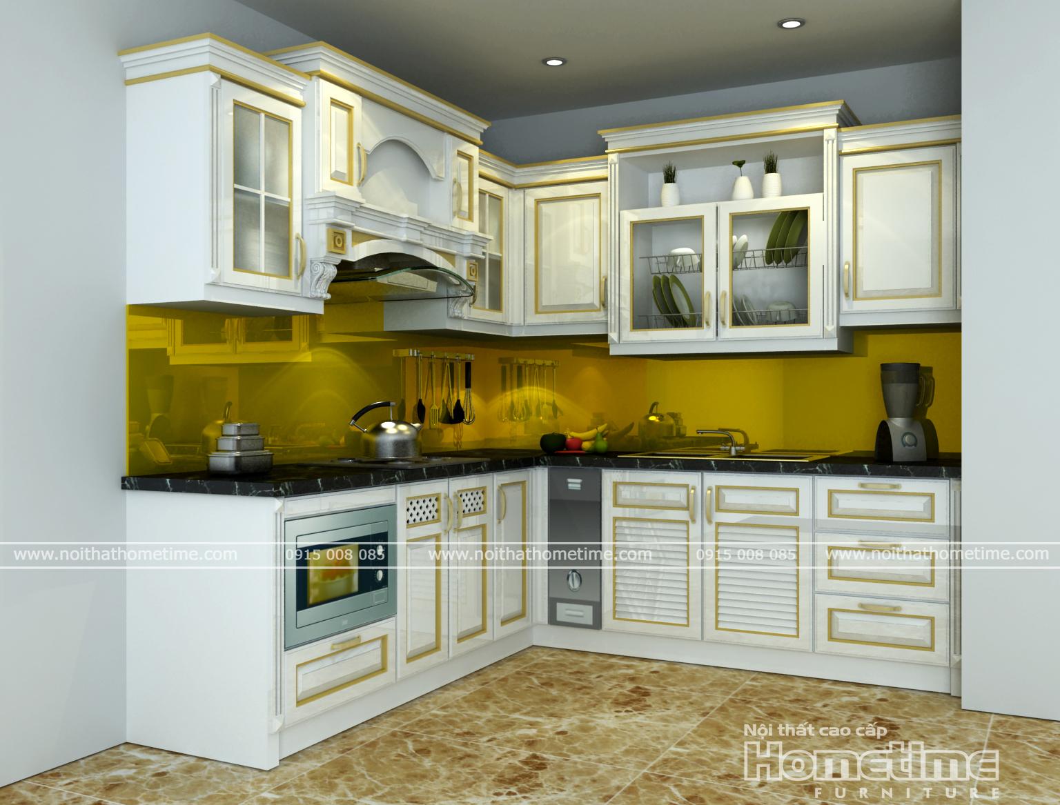 Thi công tủ bếp phong cách Tân Cổ Điển