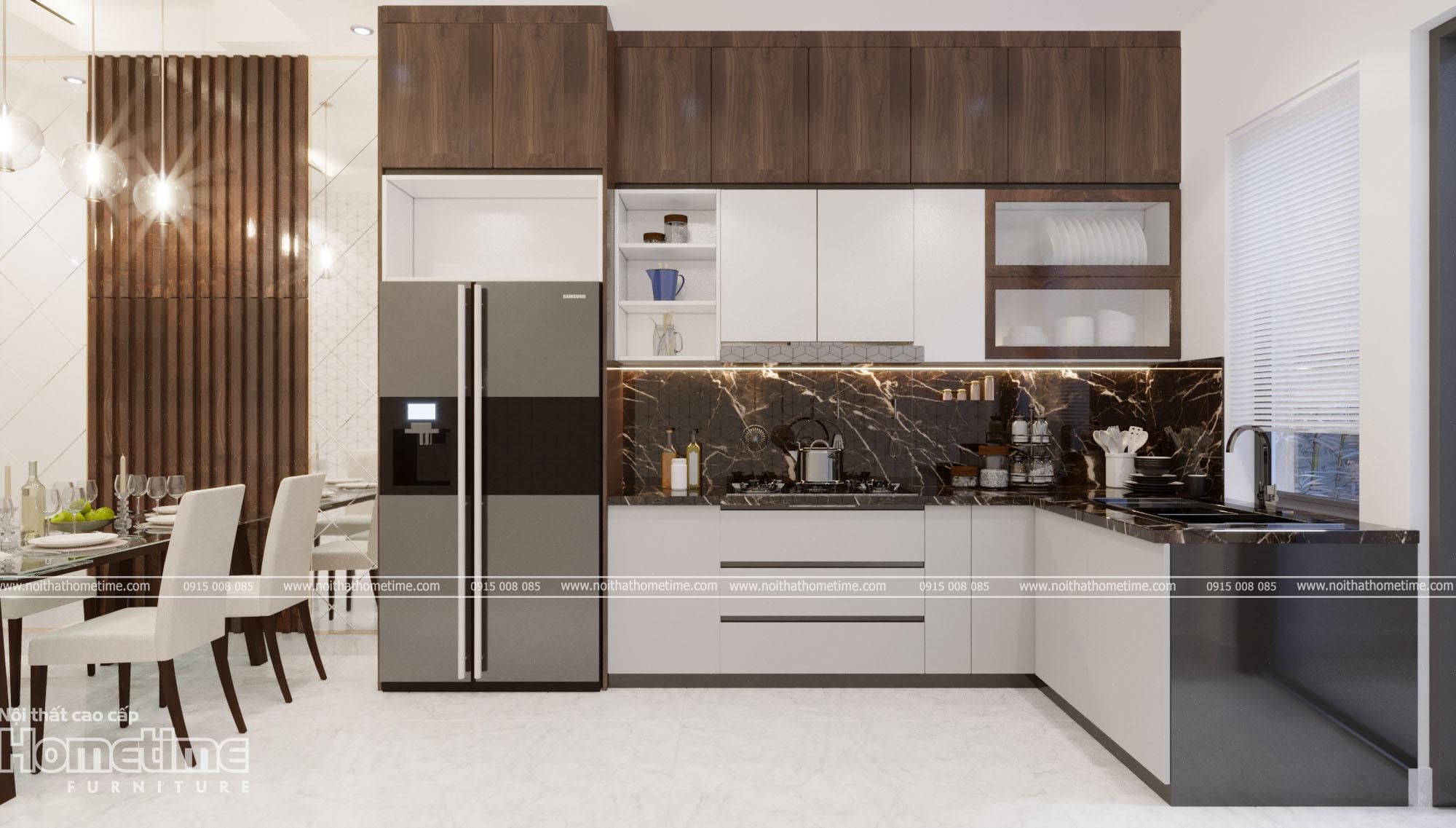 Tủ bếp với kiểu dáng hình chữ L hiện đại
