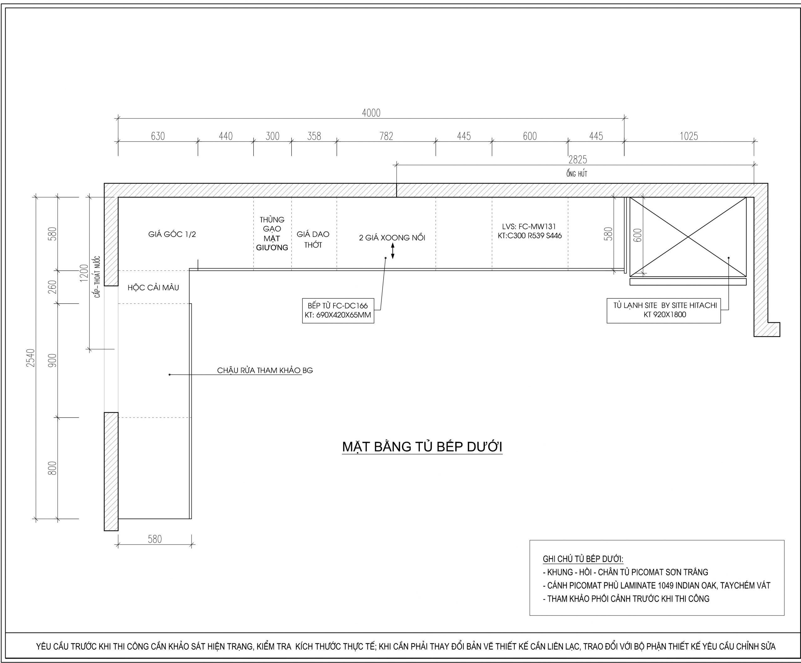 Hình ảnh thiết kế mặt dưới của tủ bếp