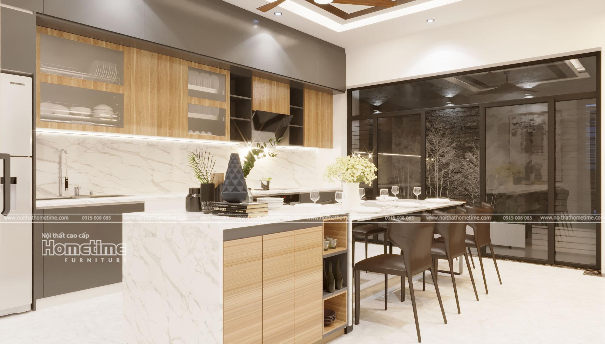 Thiết kế nội thất phòng bếp nhà chị Hồng