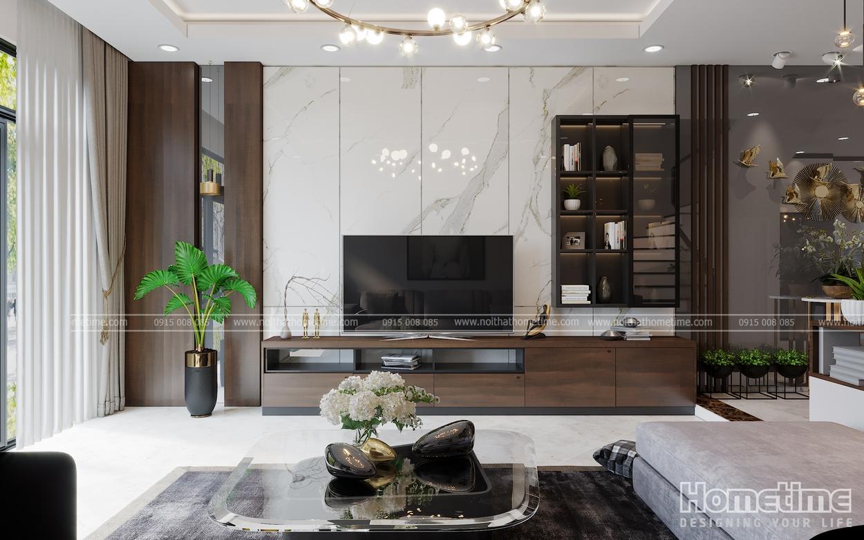 Tivi ,kệ đựng đồ, tạo nên vẻ đẹp cổ kính nhưng không kém phần hiện đại cho phòng khách