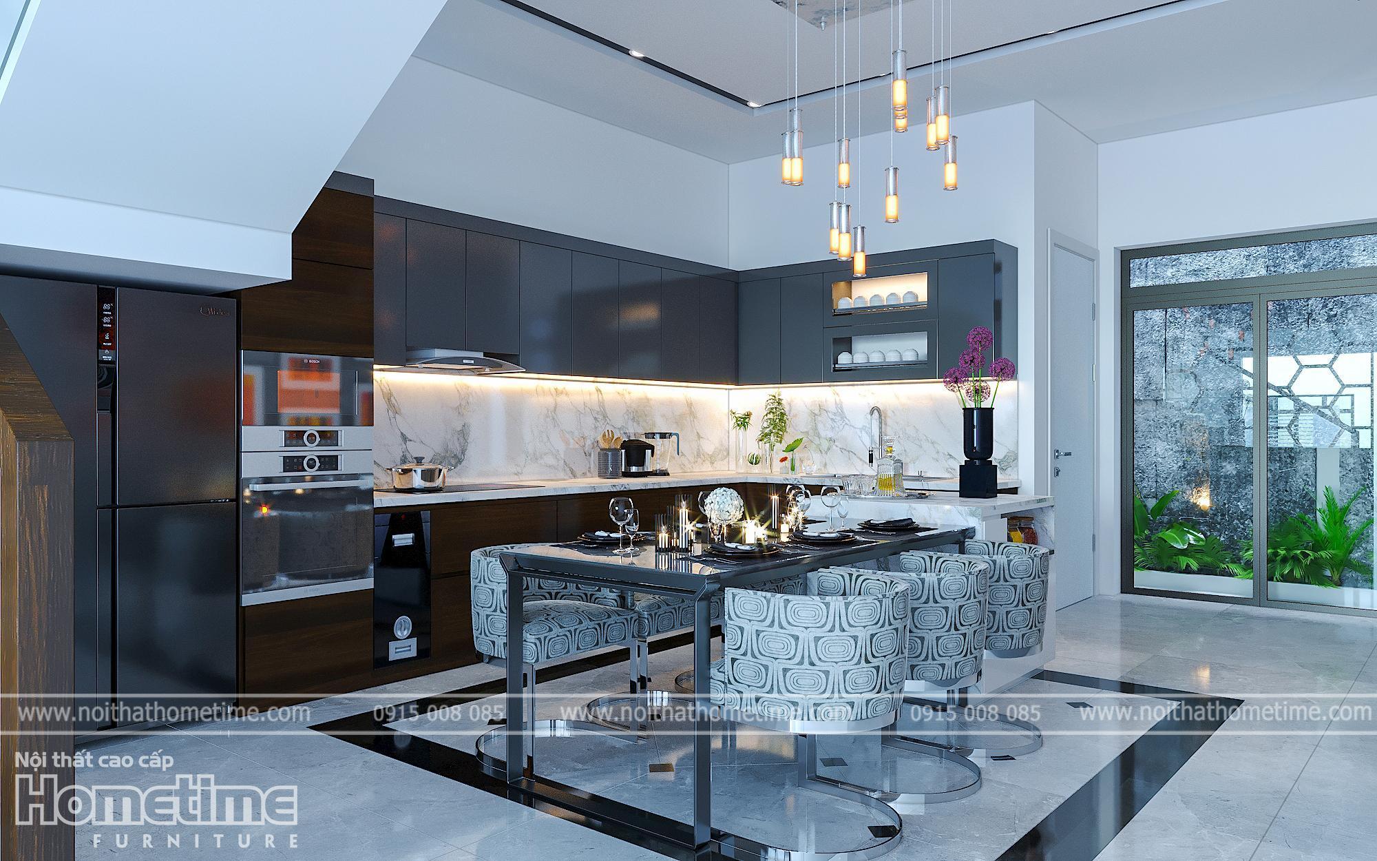 Phòng ăn kết hợp trực tiếp với khu vực đun nấu tiện dụng