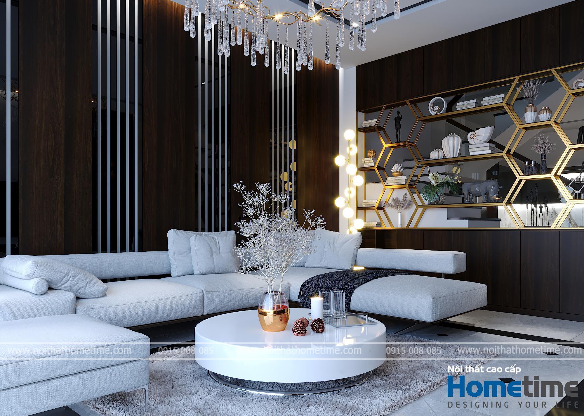 Phối cảnh không gian bộ sofa nỉ cao cấp
