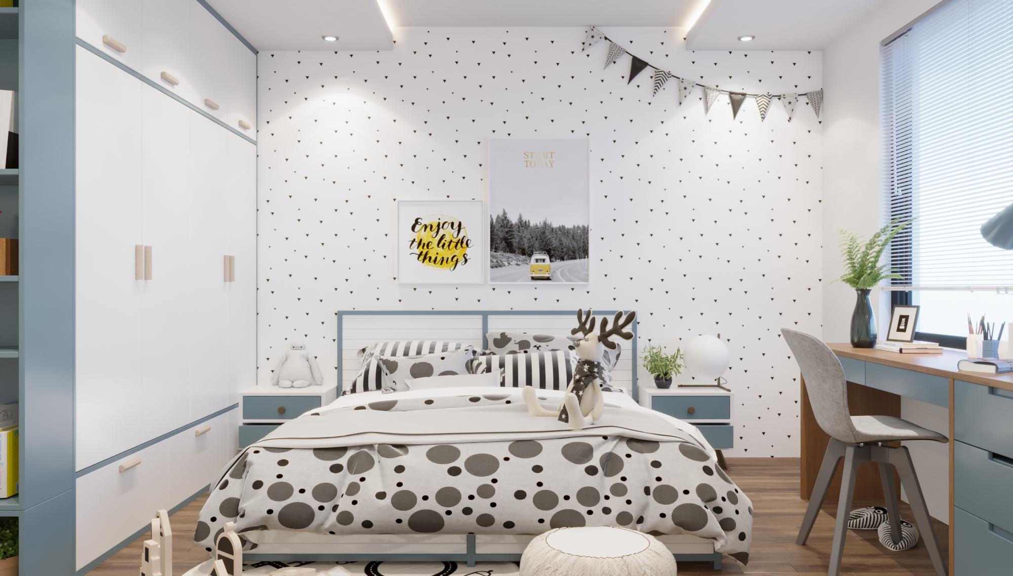 Không gian êm ái cùng chiếc giường ngộ nghĩnh