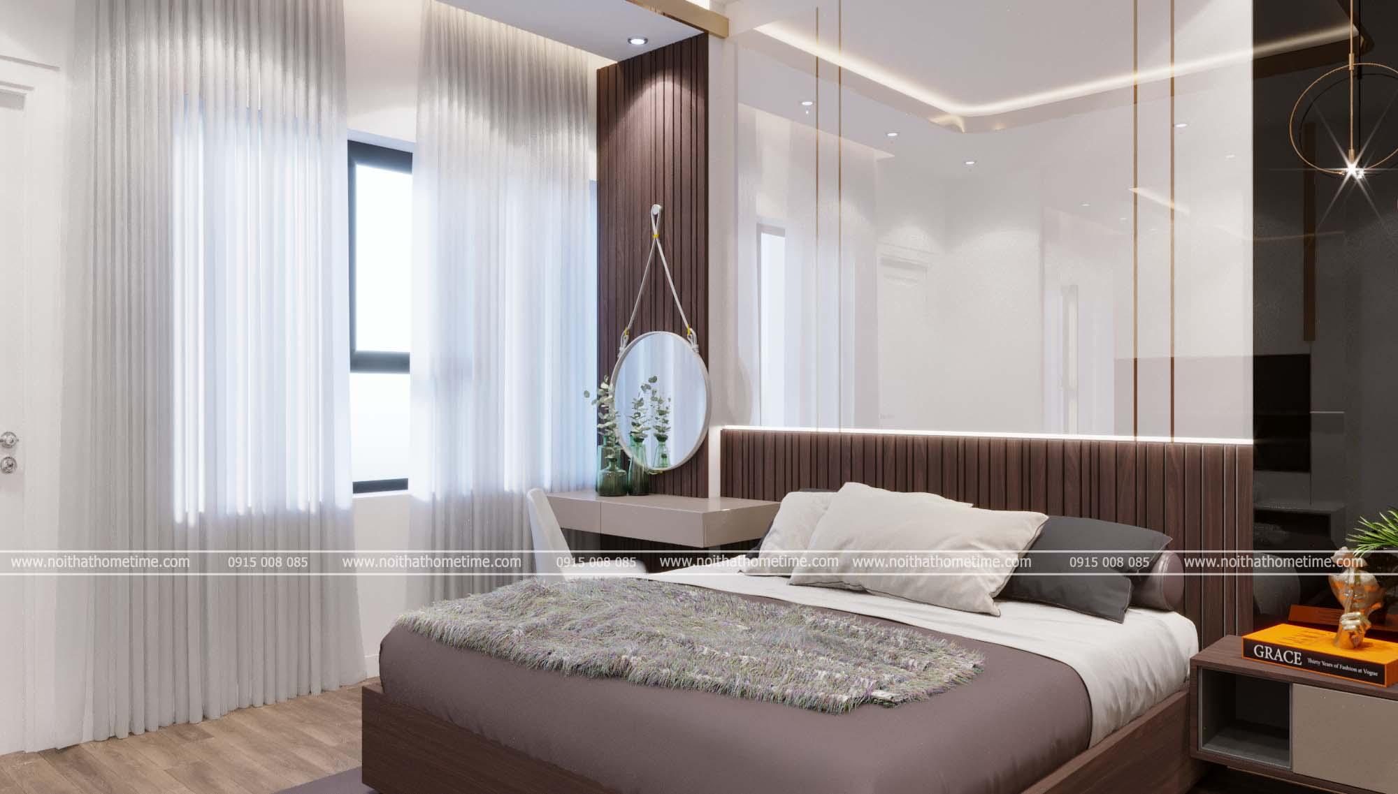 Vách trang trí phòng ngủ sang trọng cùng với chiếc bàn phấn