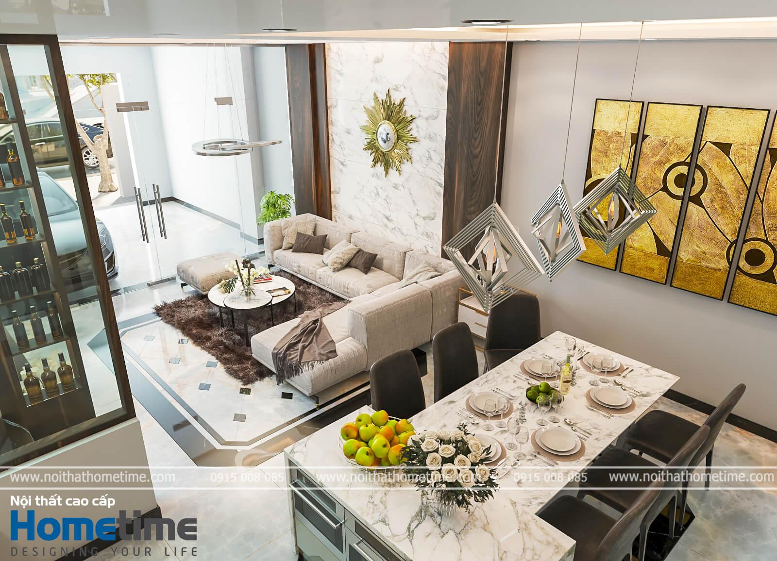 Hình ảnh bàn ăn nhà anh Mạnh mang phong cách hiện đại.