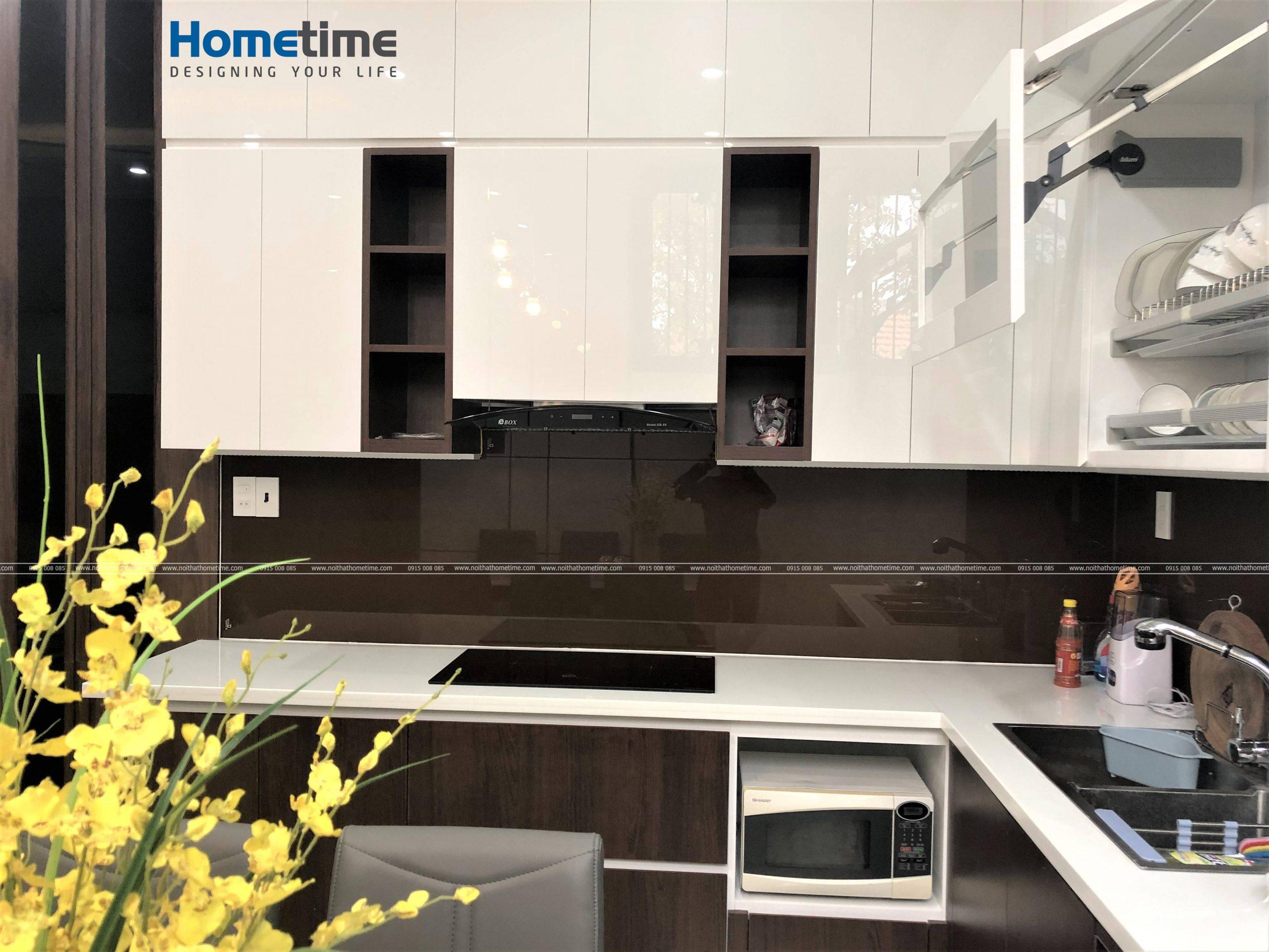 Tủ bếp được thiết kế thi công với chất liệu an toàn với người sử dụng