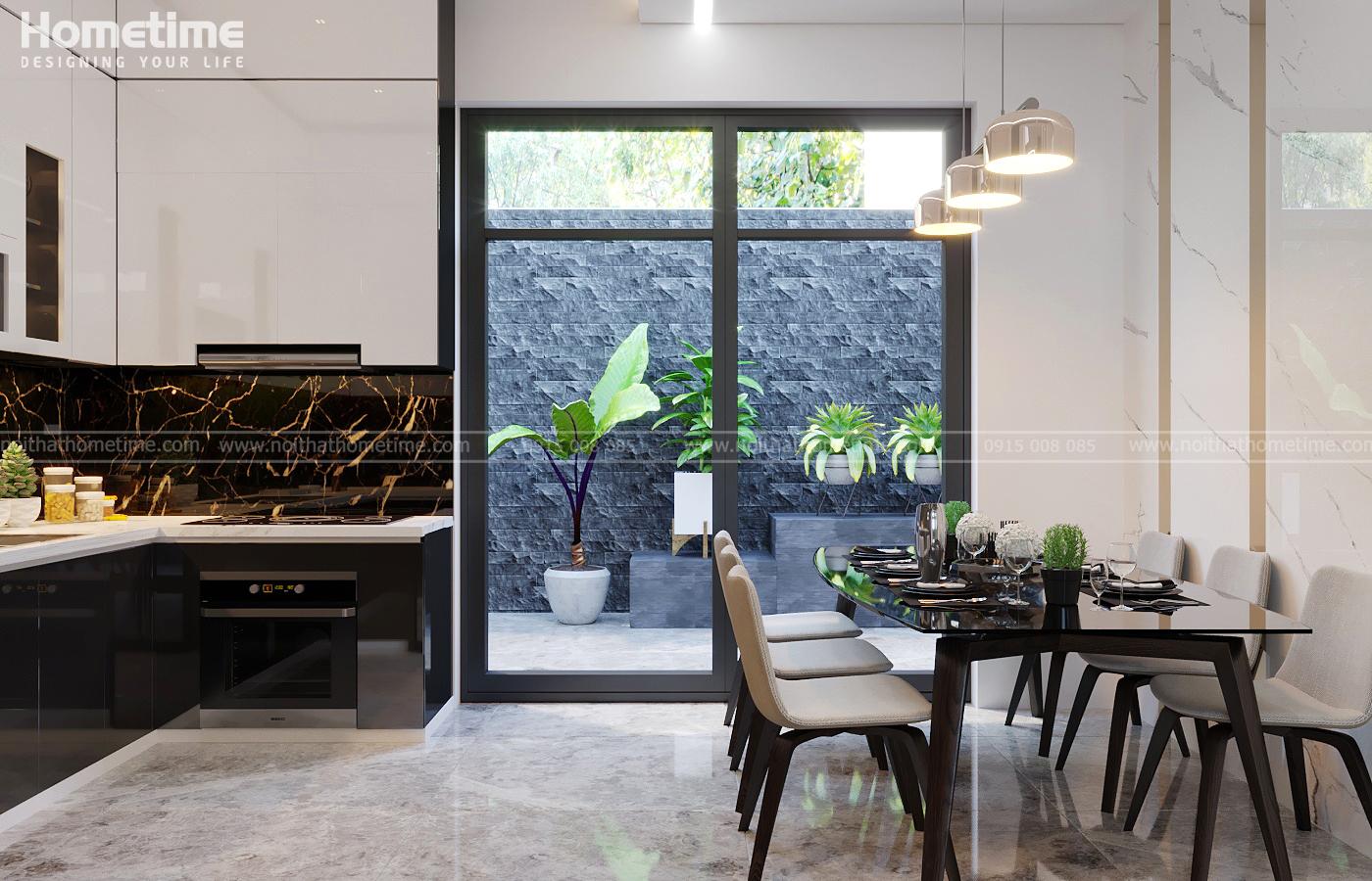 Phòng ăn mang một không gian mở