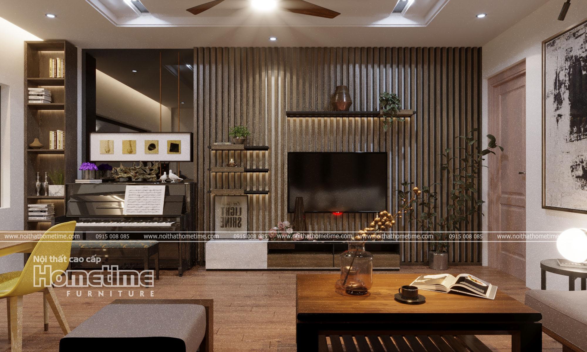 Trang trí không gian phòng khách với chiếc kệ tivi hiện đại