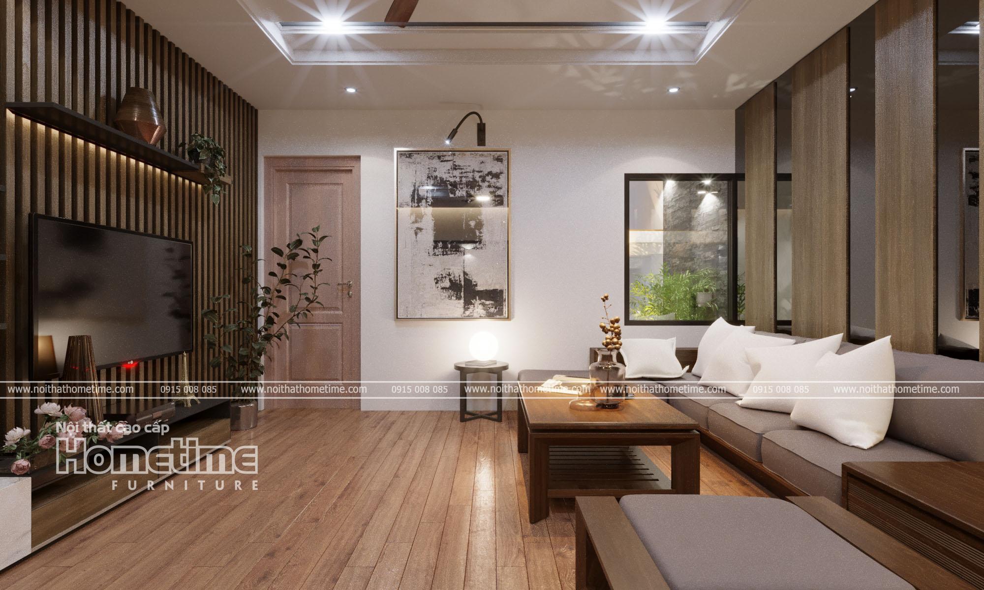 Thiết kế nội thất phòng khách nhà chị Hồng