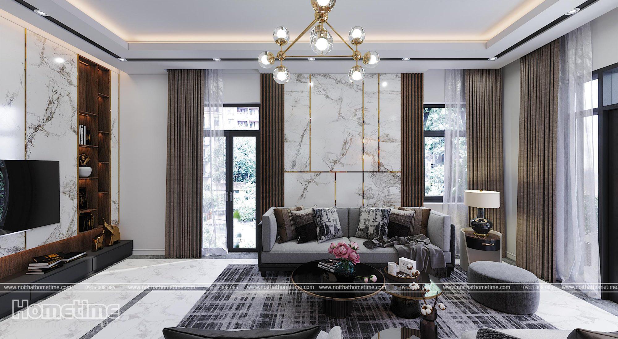 thiết kế nội thất phòng khách bếp nhà chị Hà An Đồng