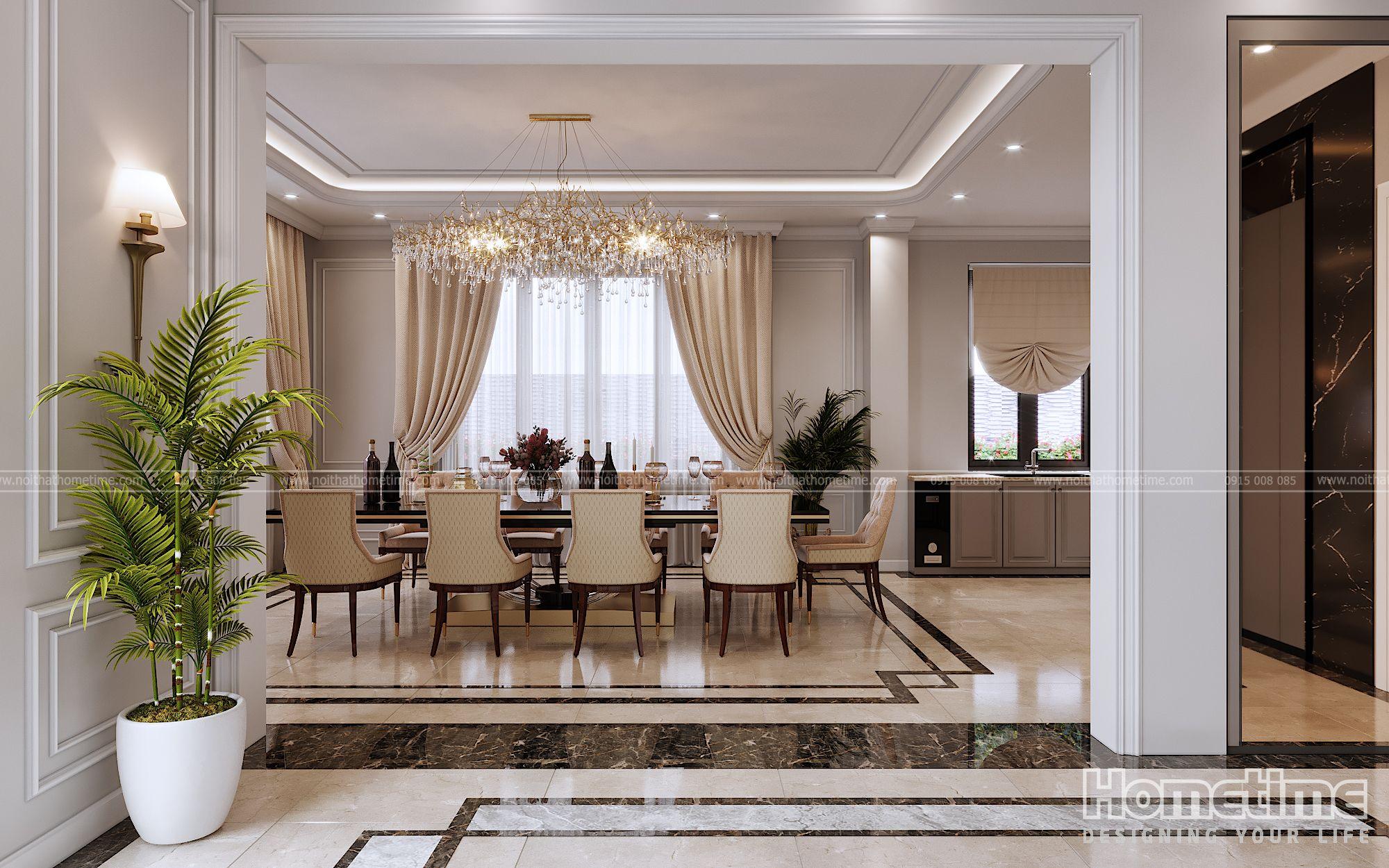 Thiết kế nội thất phòng khách và phòng bếp có sự liên thông