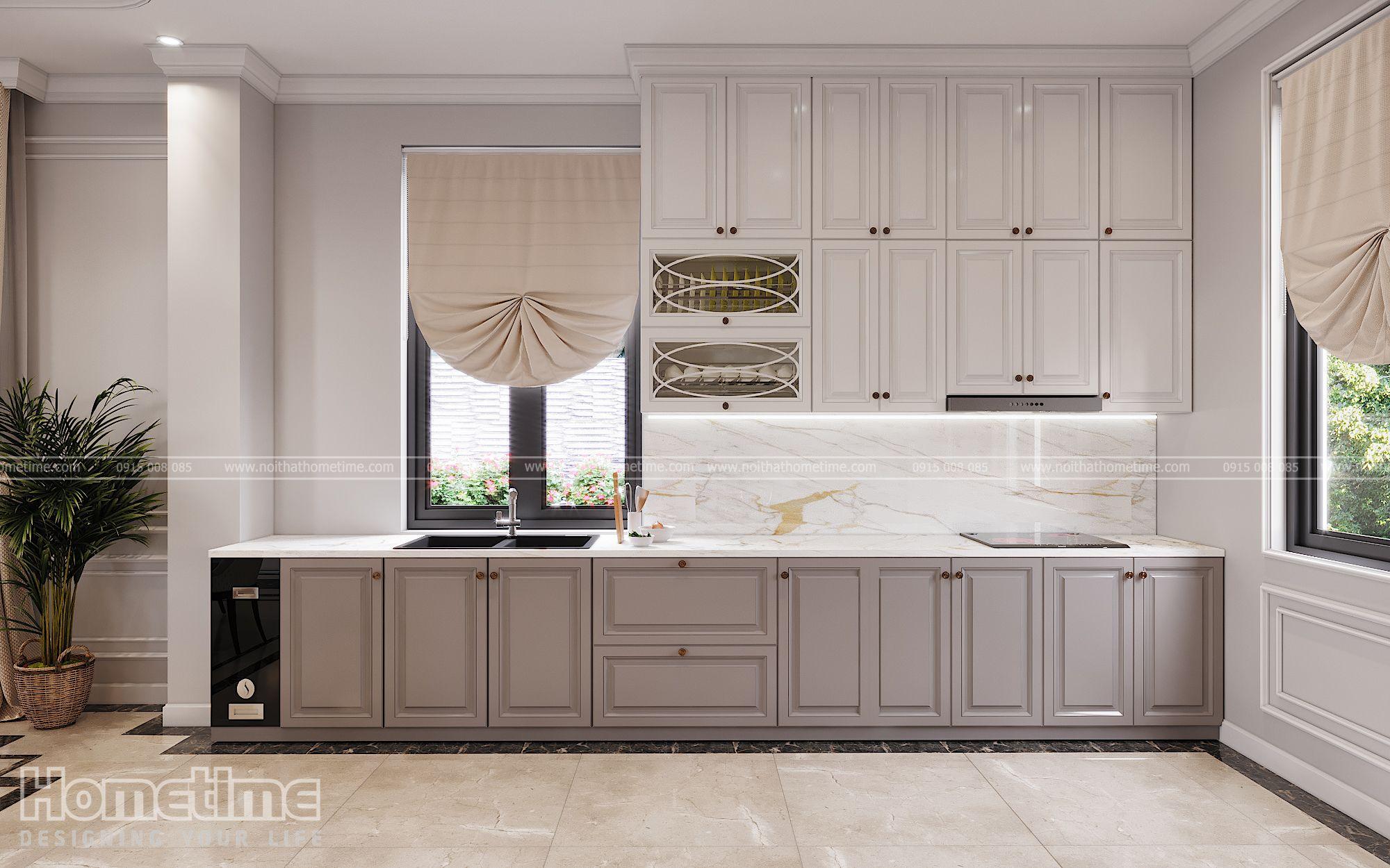 Tủ bếp Tân Cổ Điển với thiết kế cánh lô