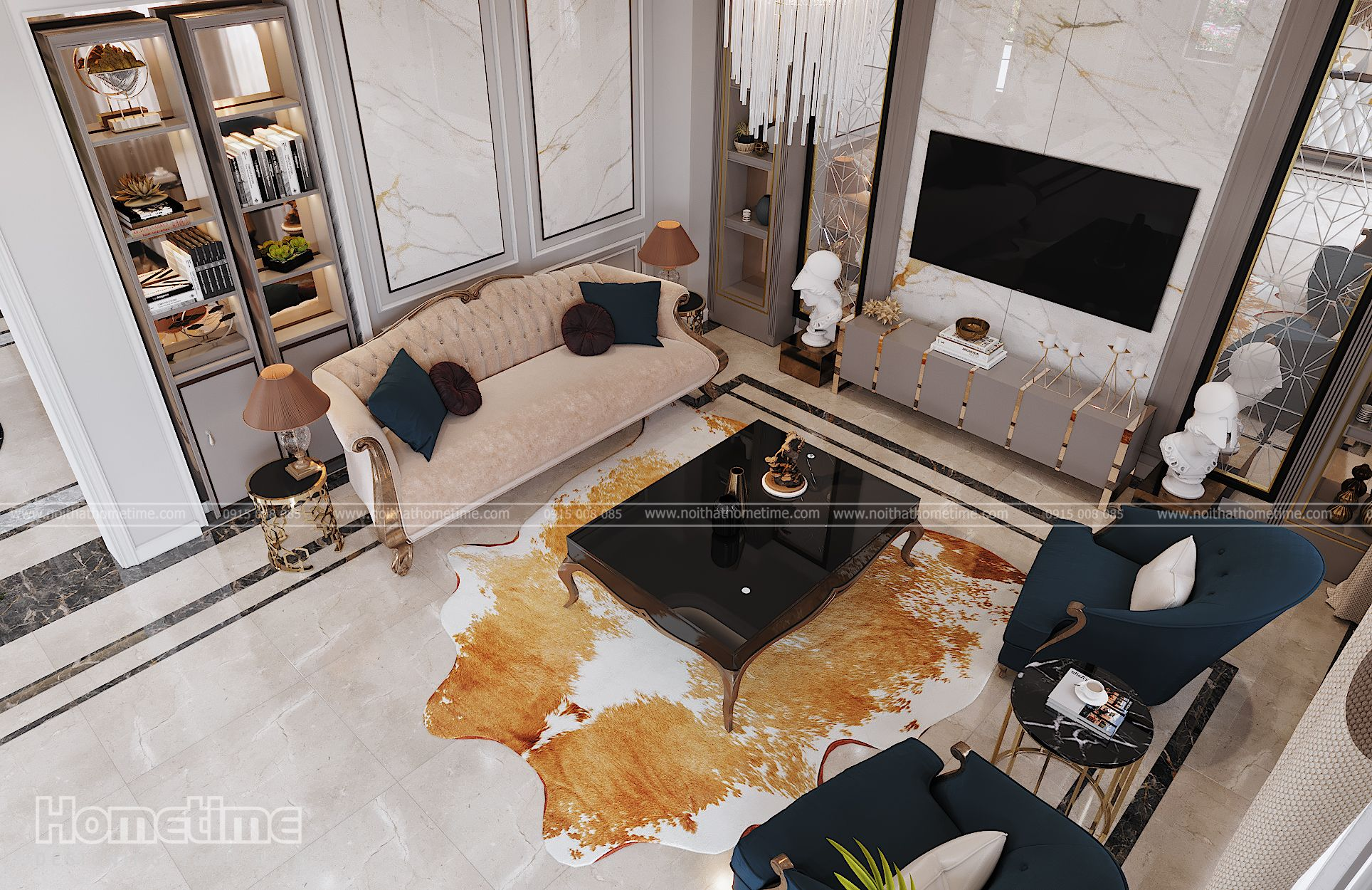 Tổng quan mẫu nội thất phòng khách bếp tân cổ điển