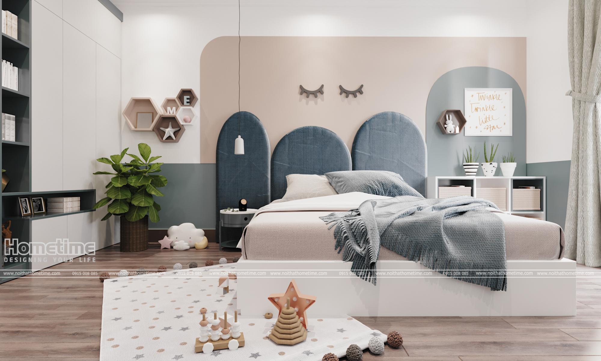 Mẫu nội thất phòng ngủ bé gái màu sắc dịu nhẹ