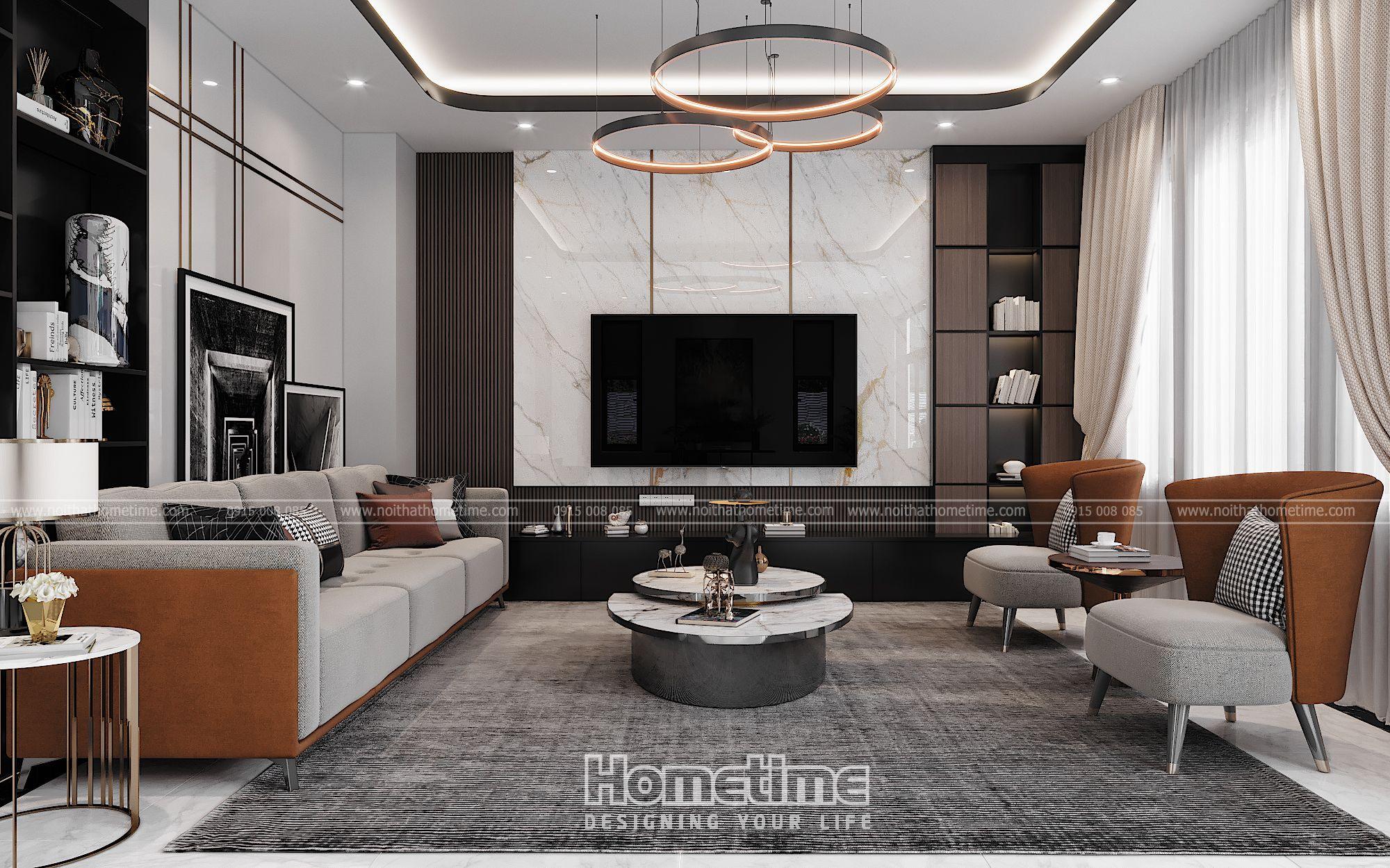 thiết kế nội thất phòng khách bếp biệt thự vinhomes marina hải phòng