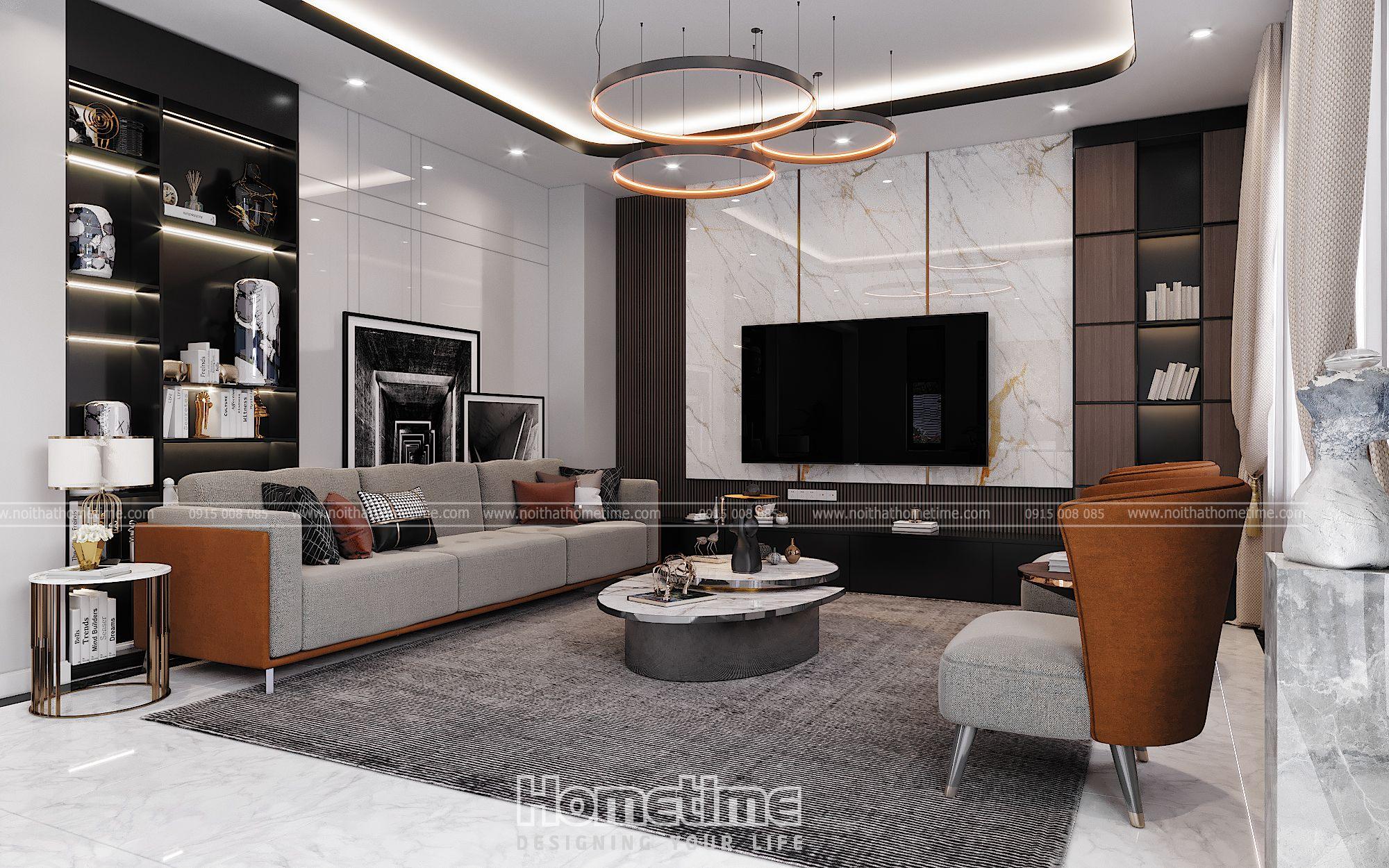 Chất liệu thiết kế nội thất phòng khách đạt hiệu quả cao