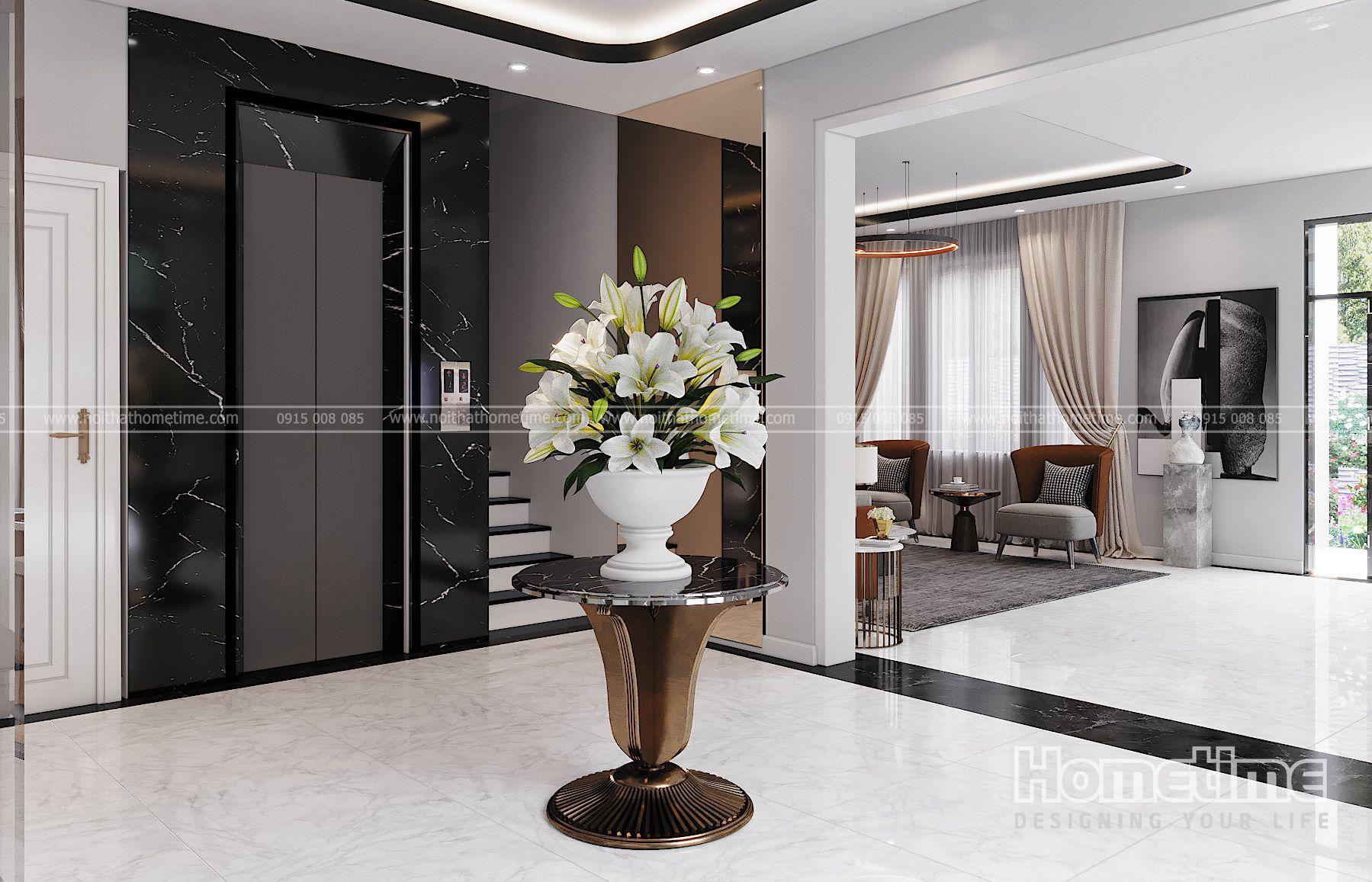 Không gian kết nối giữa phòng khách và phòng bếp