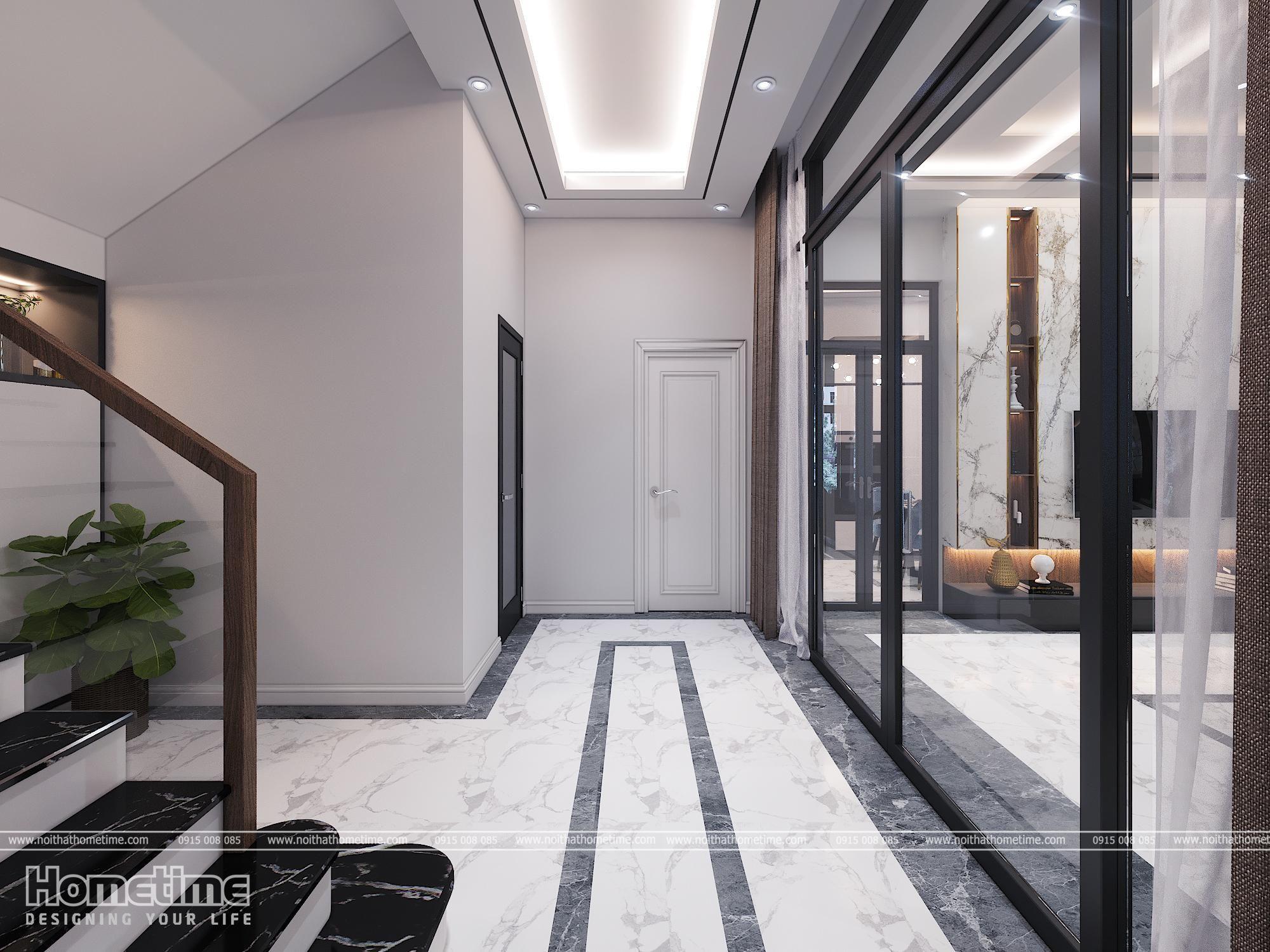 Không gian cửa kính cầu thang phòng khách