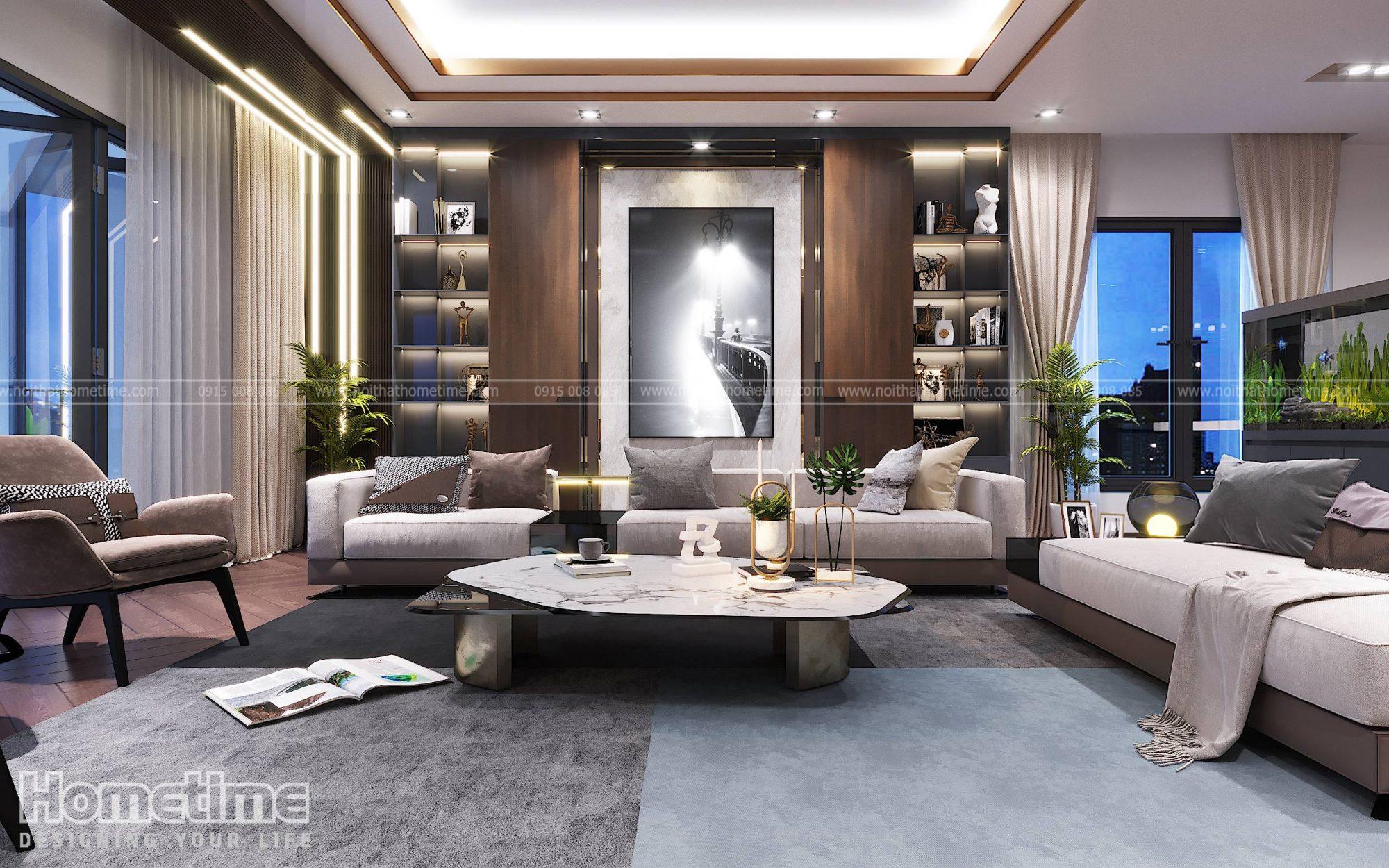 Thiết kế nội thất phòng khách bếp nhà chị Hạnh